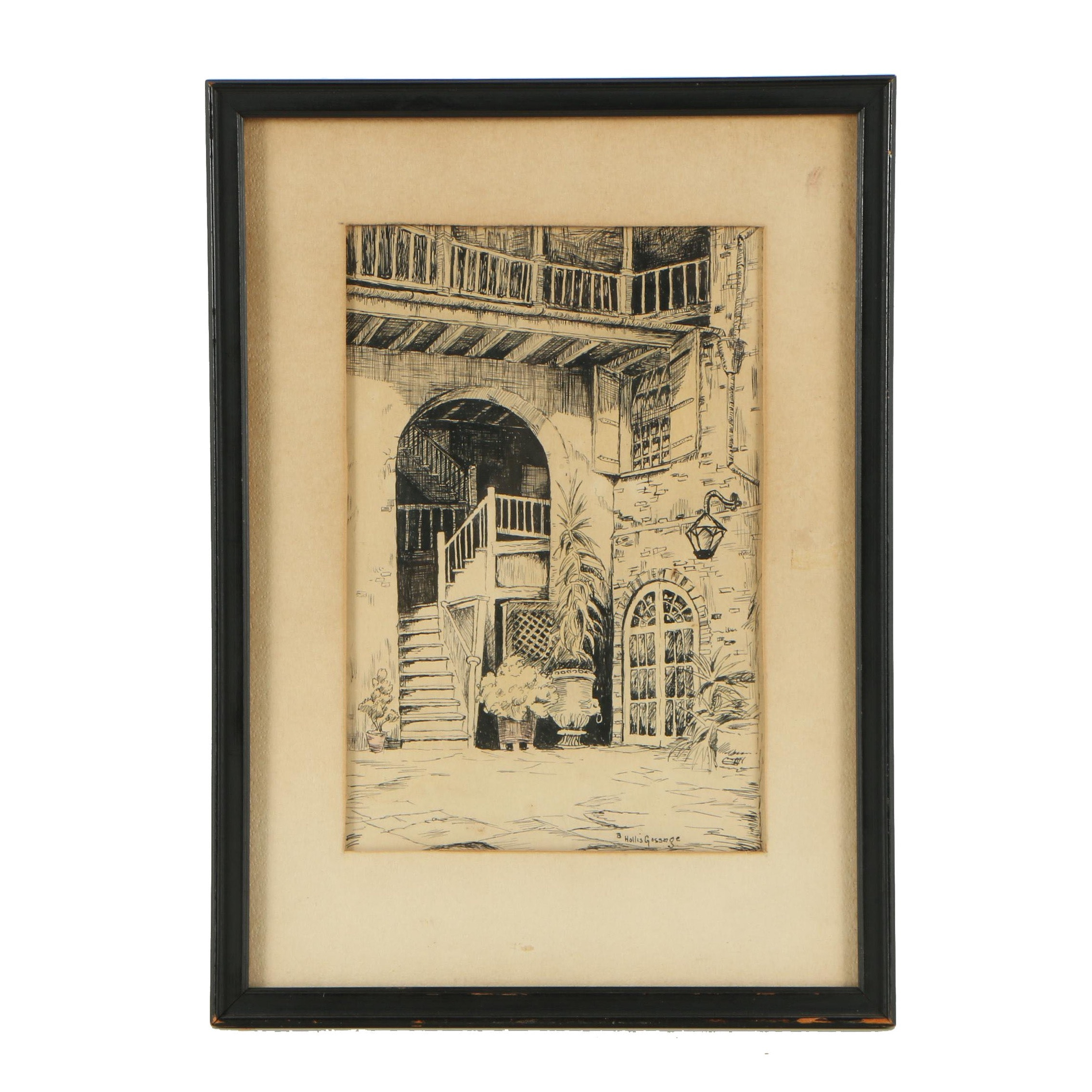 B. Hollis Gossage Ink Drawing of Courtyard