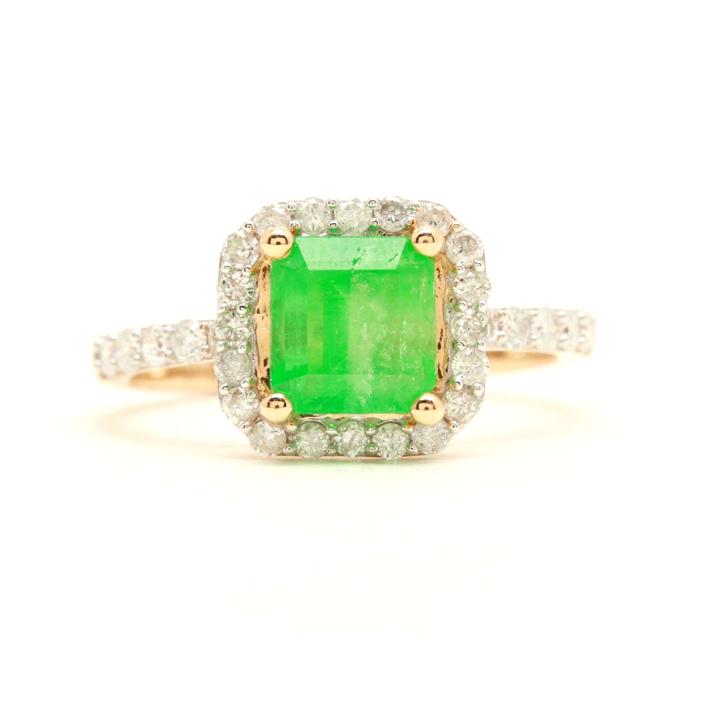 14K Yellow Gold 1.37 CT Emerald and Diamond Ring