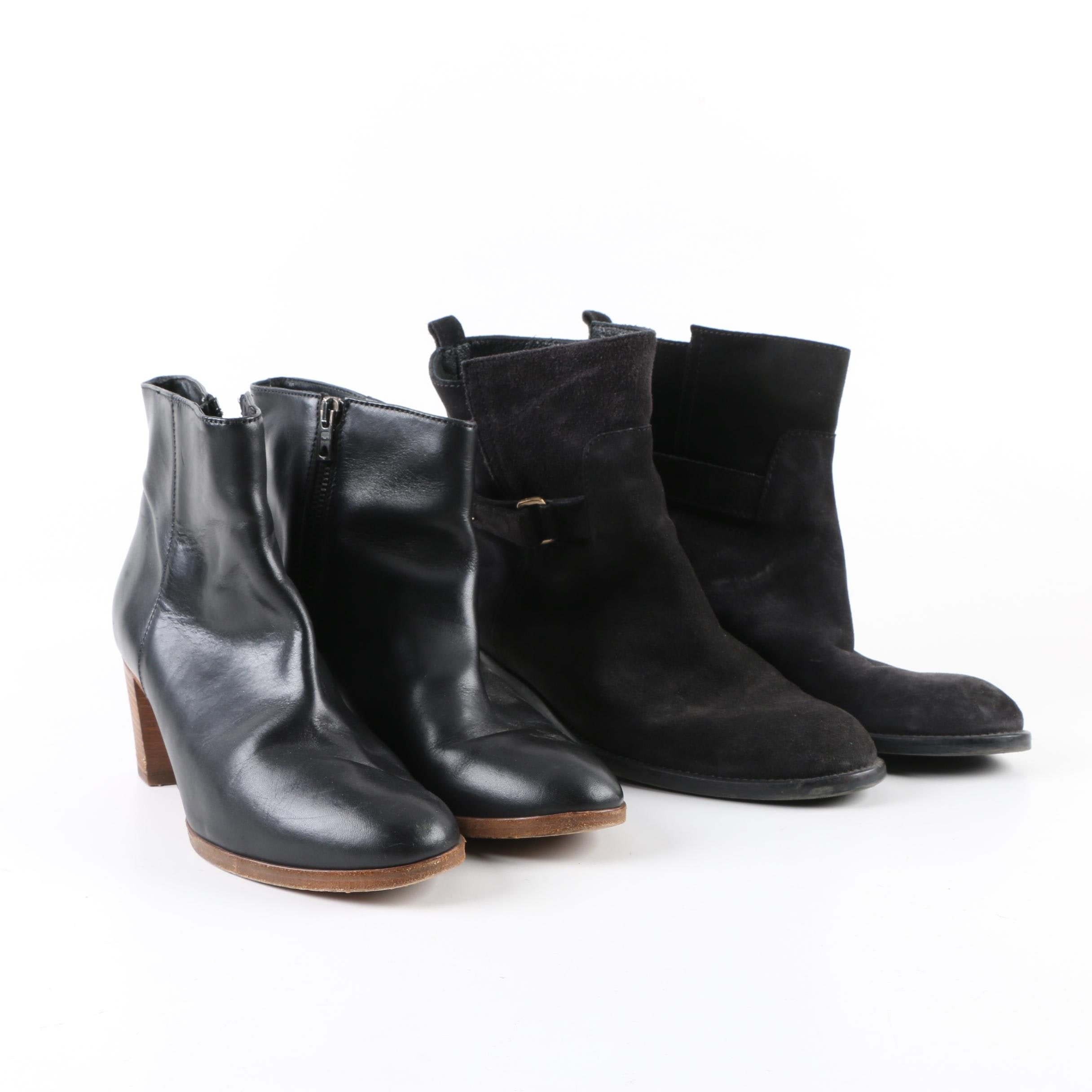 Two Pairs of J. Crew Black Leather Booties