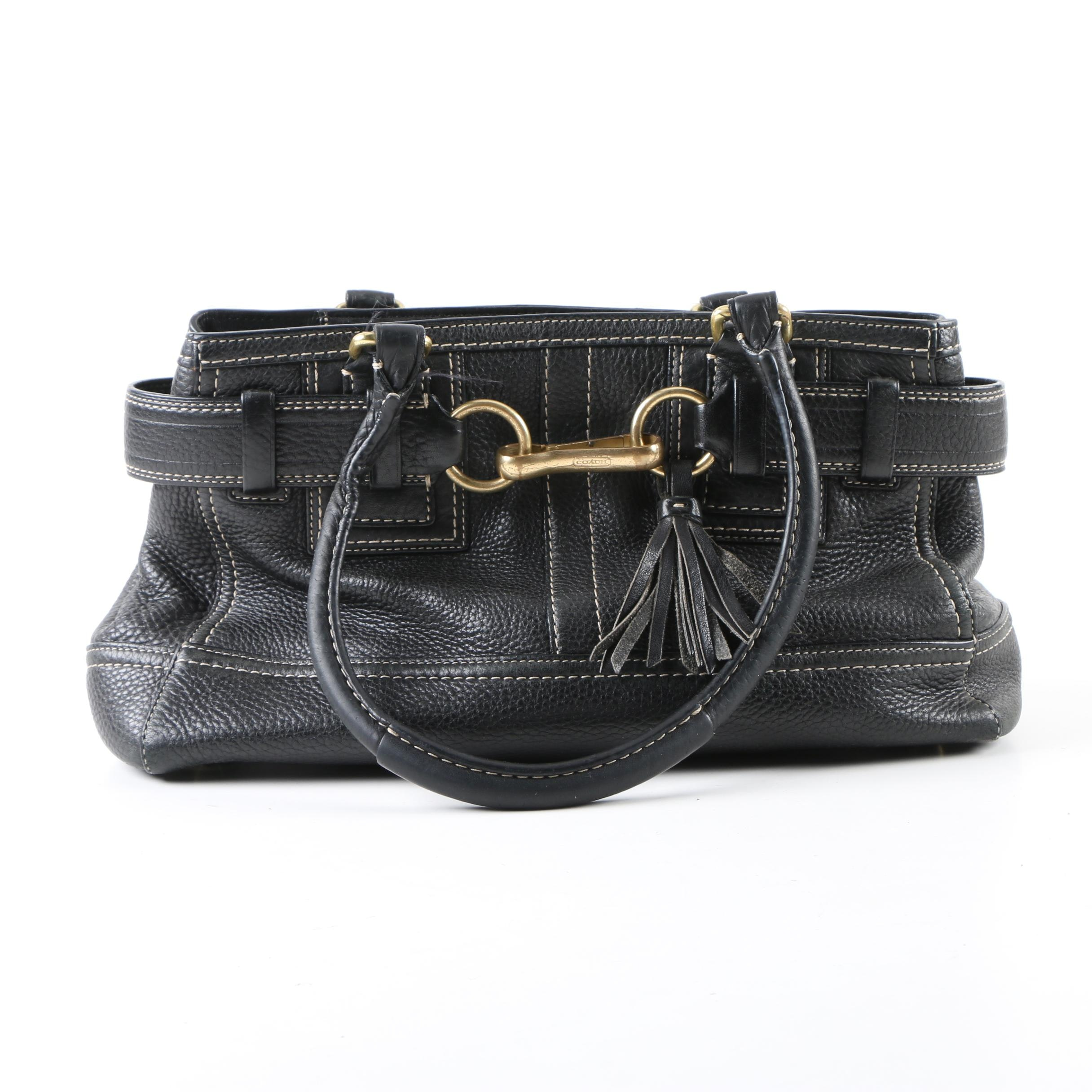 Coach Black Pebbled Leather Hampton Carryall Satchel