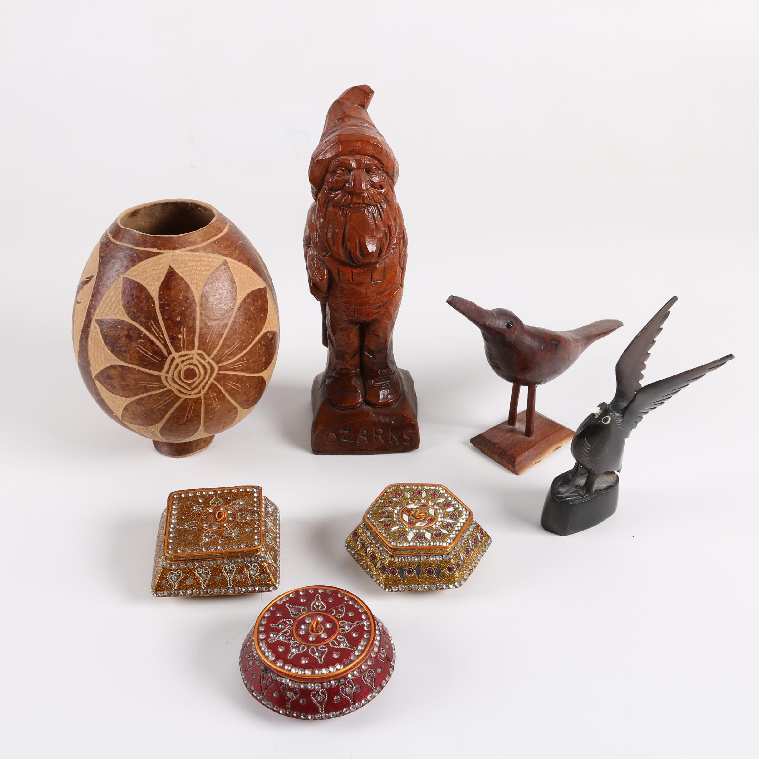 Carved Coconut Shell Vessel, Figurines and Decorative Boxes
