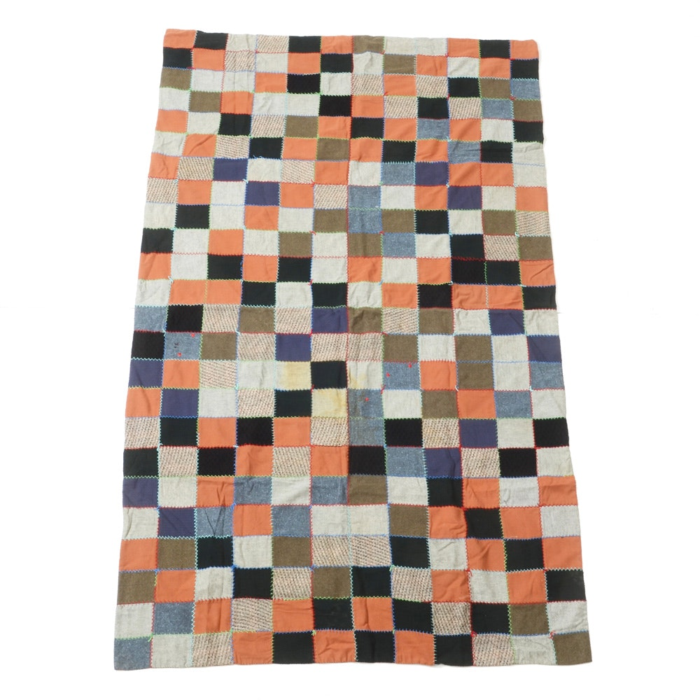 Hand Knotted Tweed, Felt and Wool Patchwork Quilt