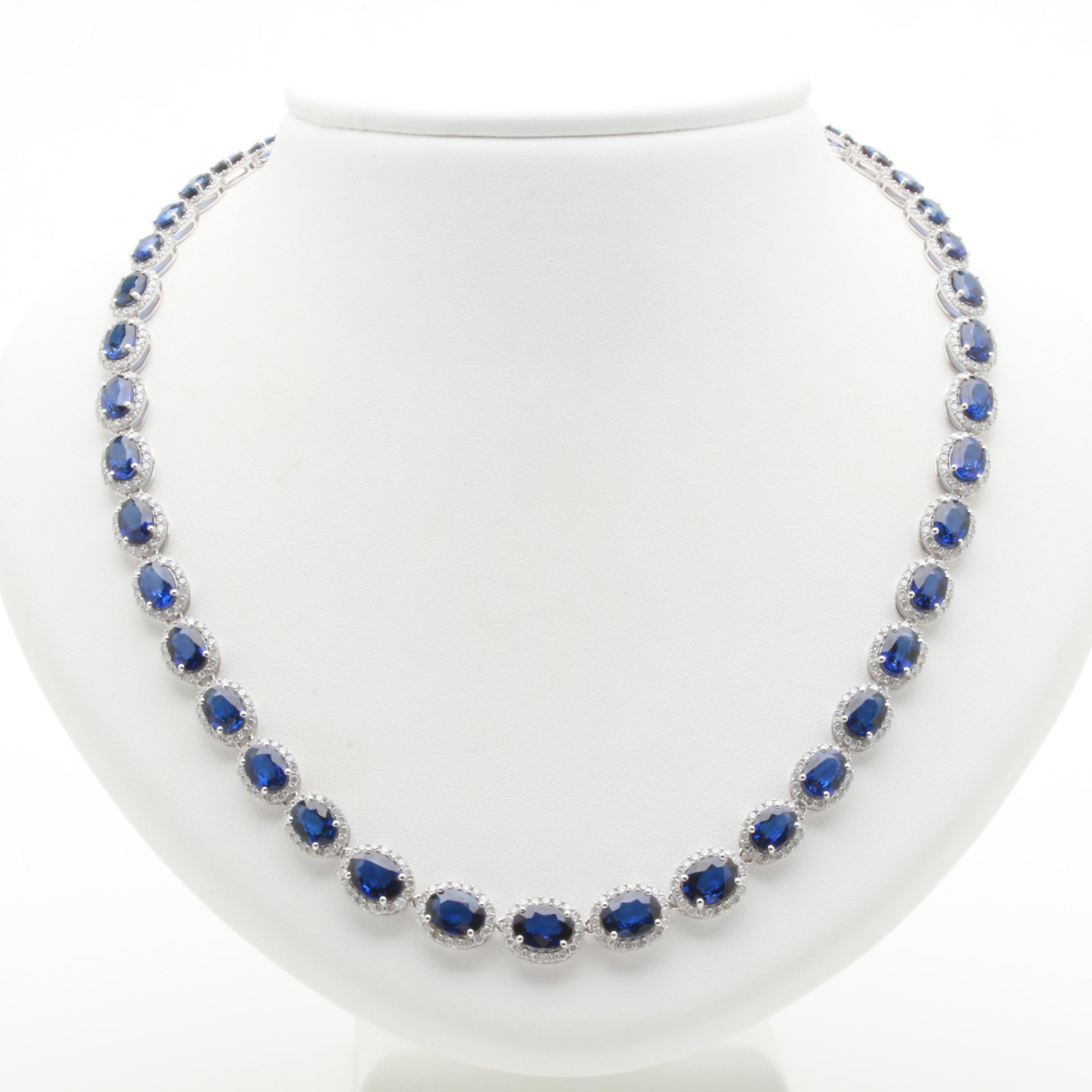 14K White Gold Sapphire and 6.90 CTW Diamond Link Necklace