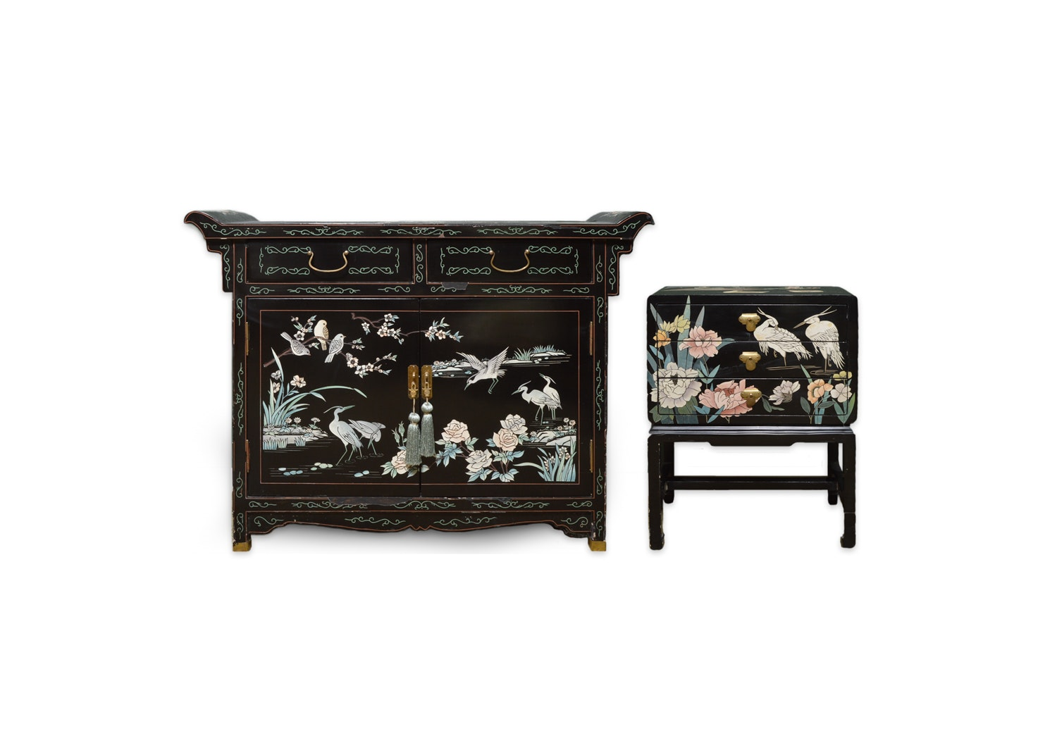 Vintage Chinese Coromandel Lacquered Buffet and Side Table