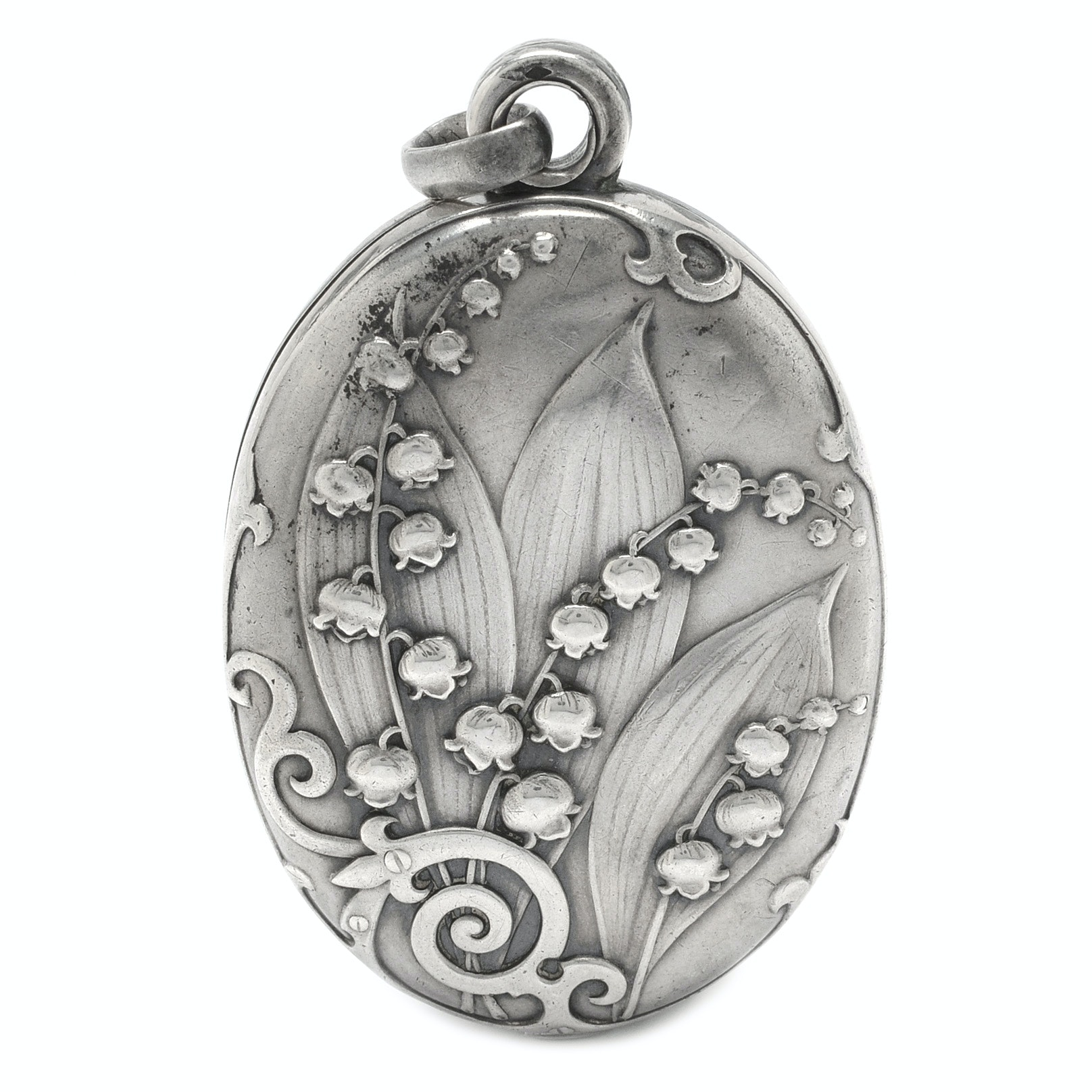 Sterling Silver Art Nouveau Repousse´ Lily of the Valley Mirror Pendant