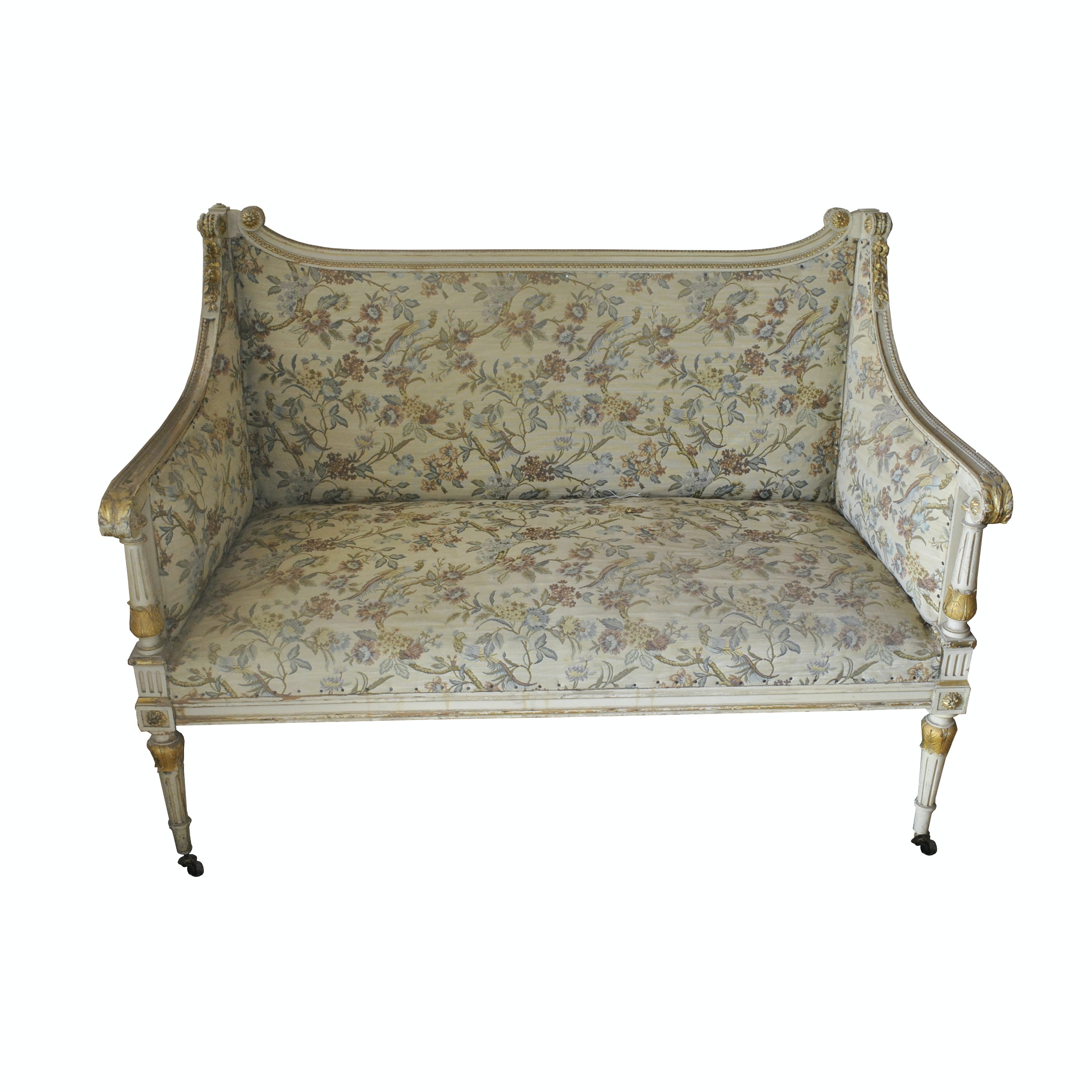 Bird and Flower Upholstered Louis XVI Style Settee