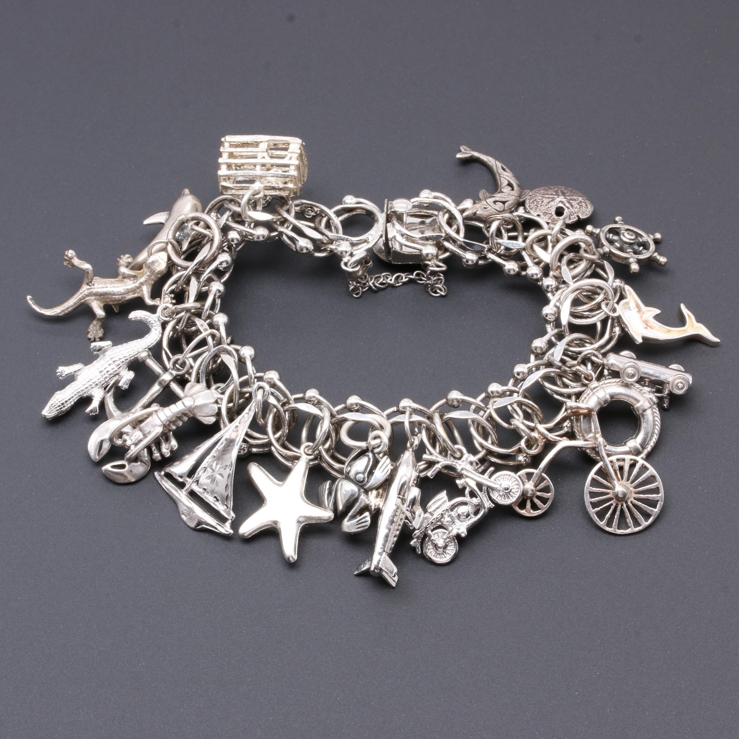 Sterling Silver Charm Bracelet Including Foilbacked Glass