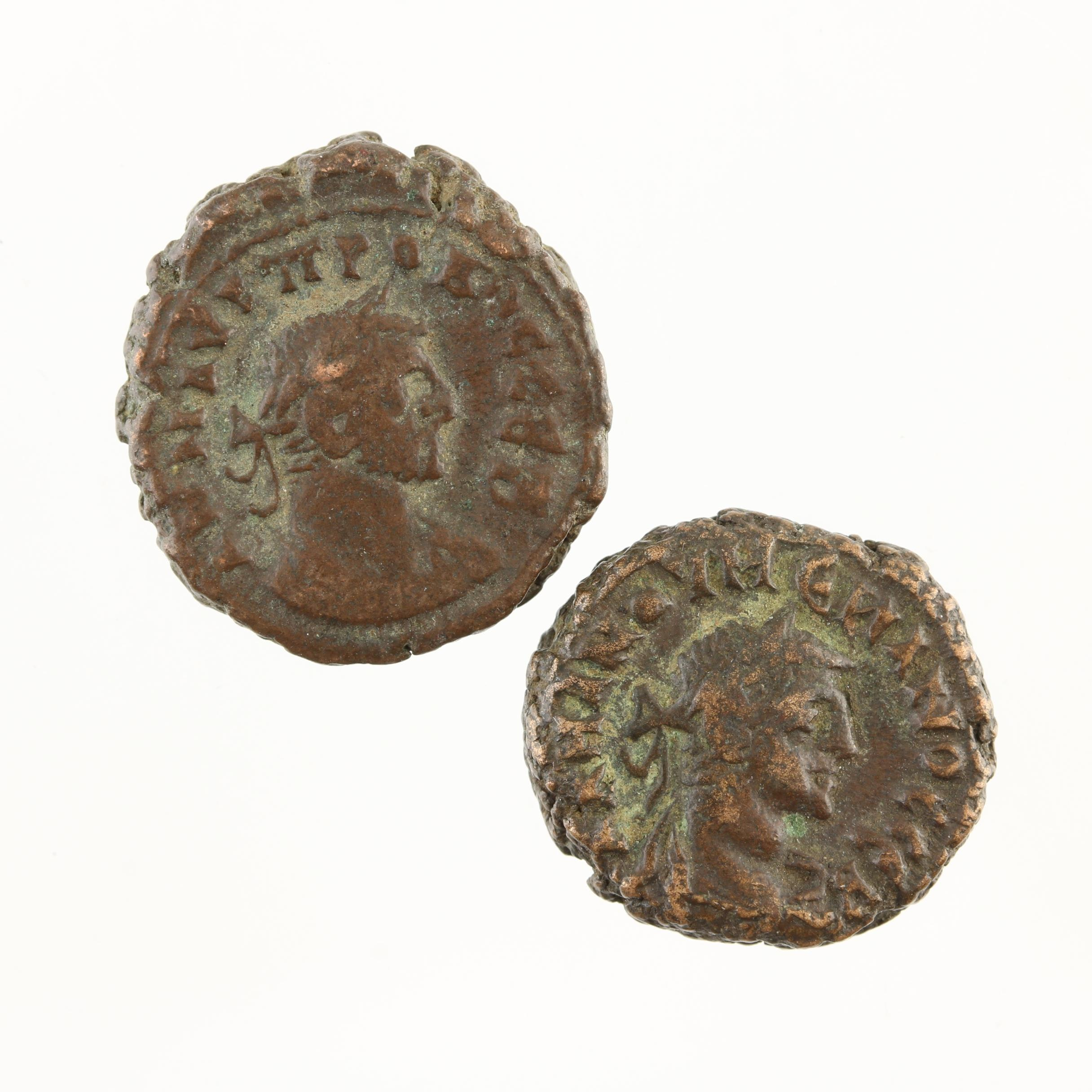 Two Ancient Roman Imperial AE3 Bronze Coins