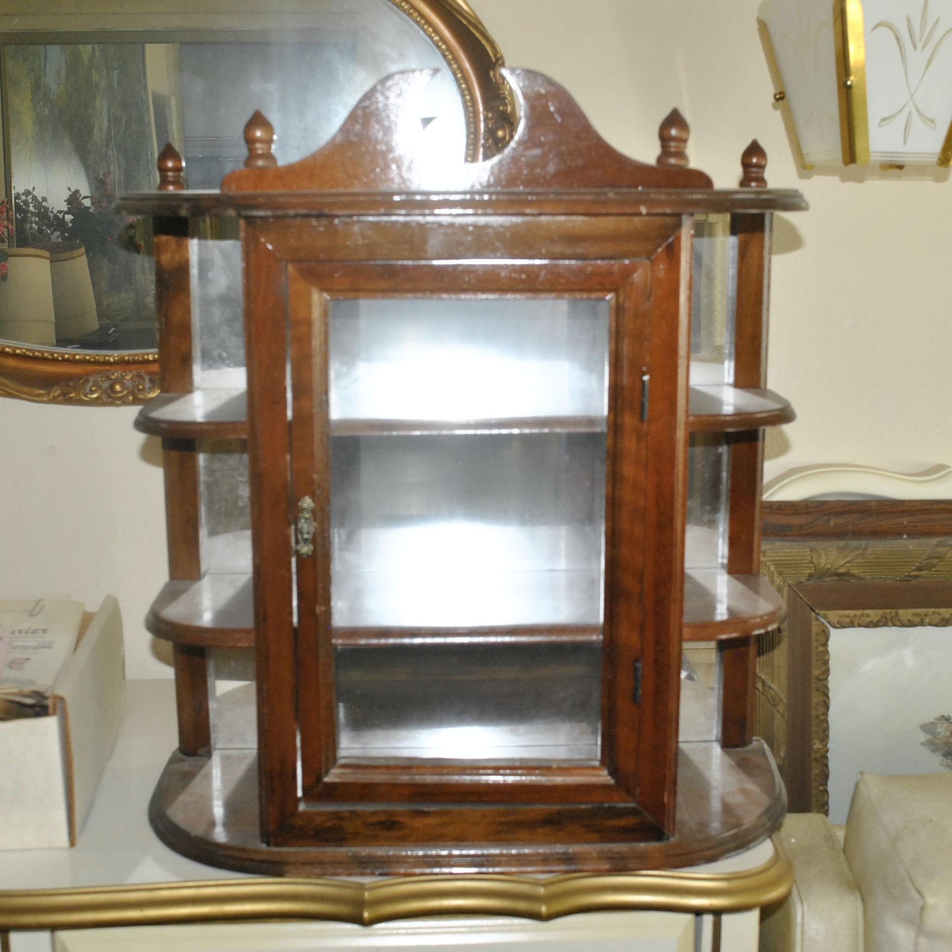 Wood and Glass Small Curio Cabinet