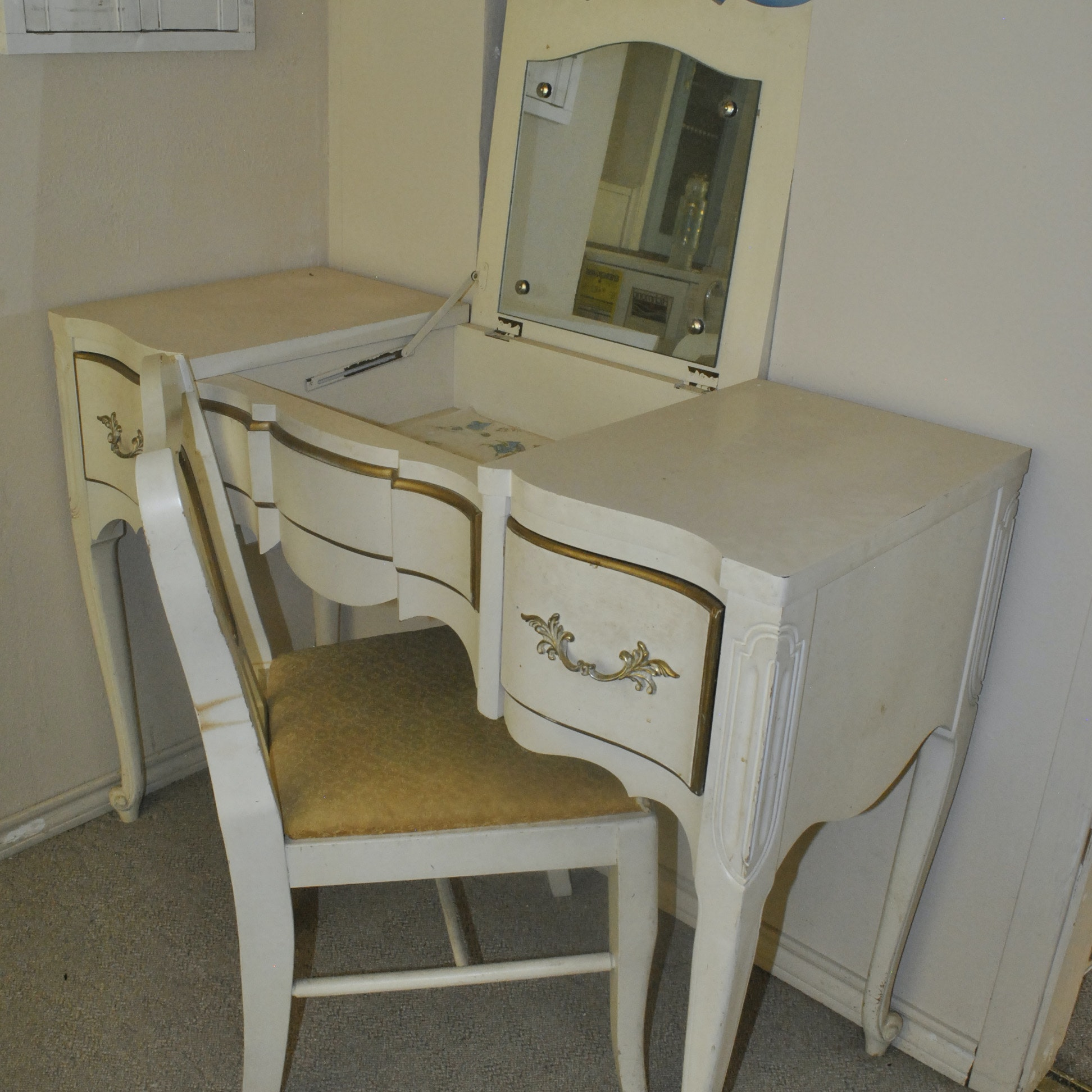 Cream and Gold Louis XV Style Vanity and Chair