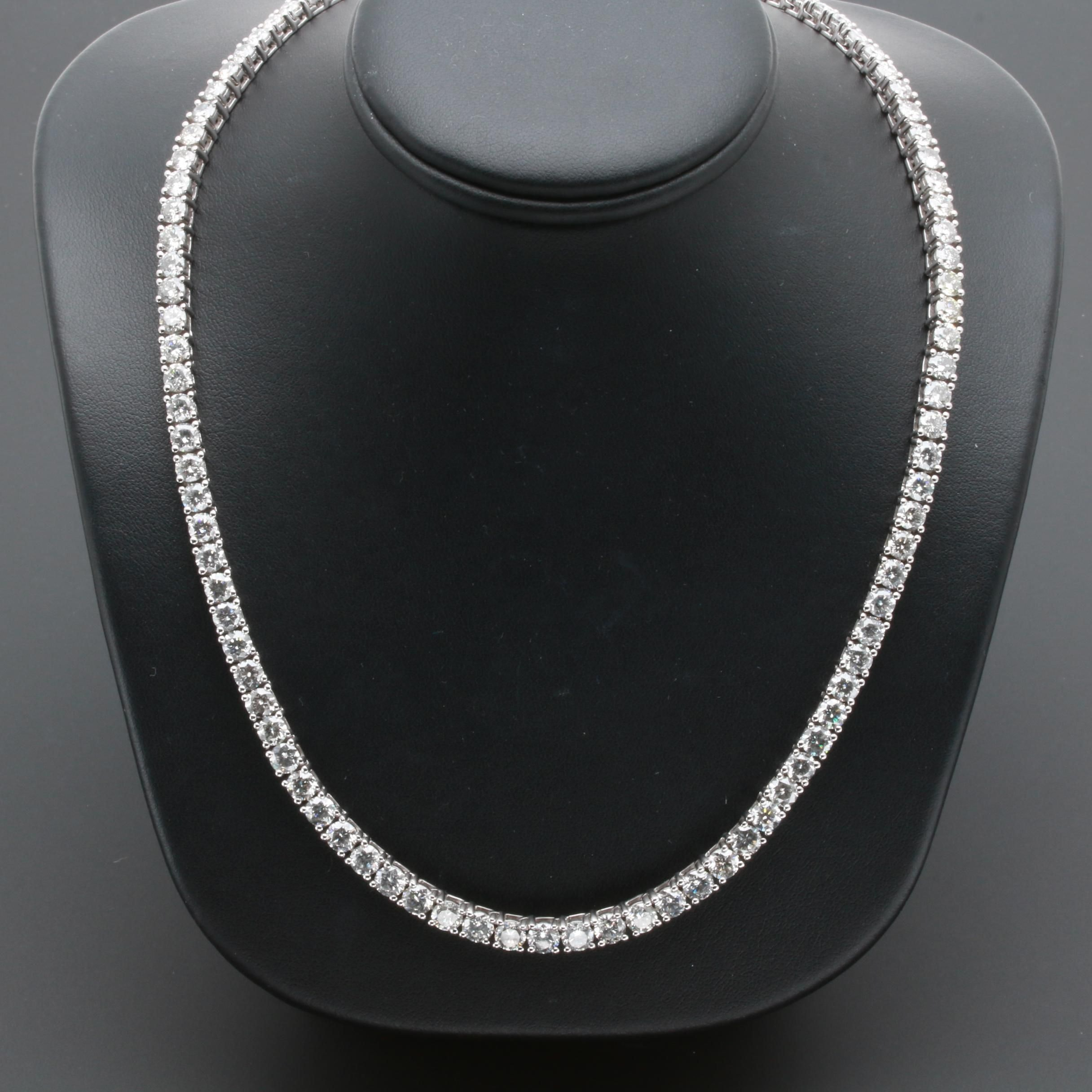 14K White Gold 30.53 CTW Diamond Link Necklace