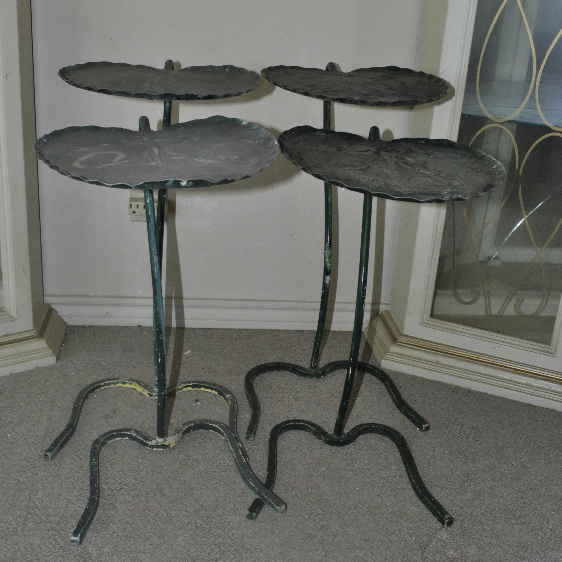 Vintage Lily Pad Motif Metal Side Tables