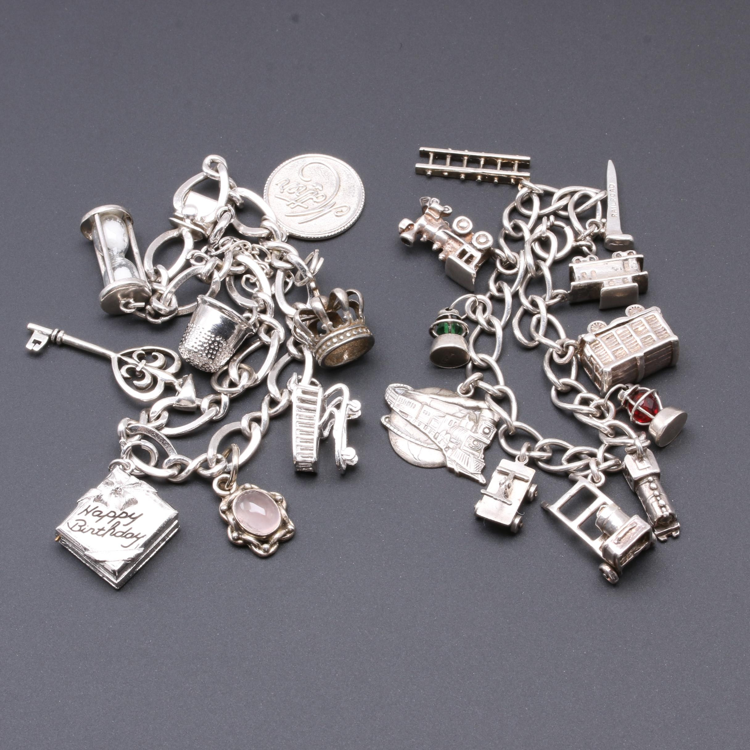 Vintage Sterling Silver Railroad and Mother Themed Charm Bracelets