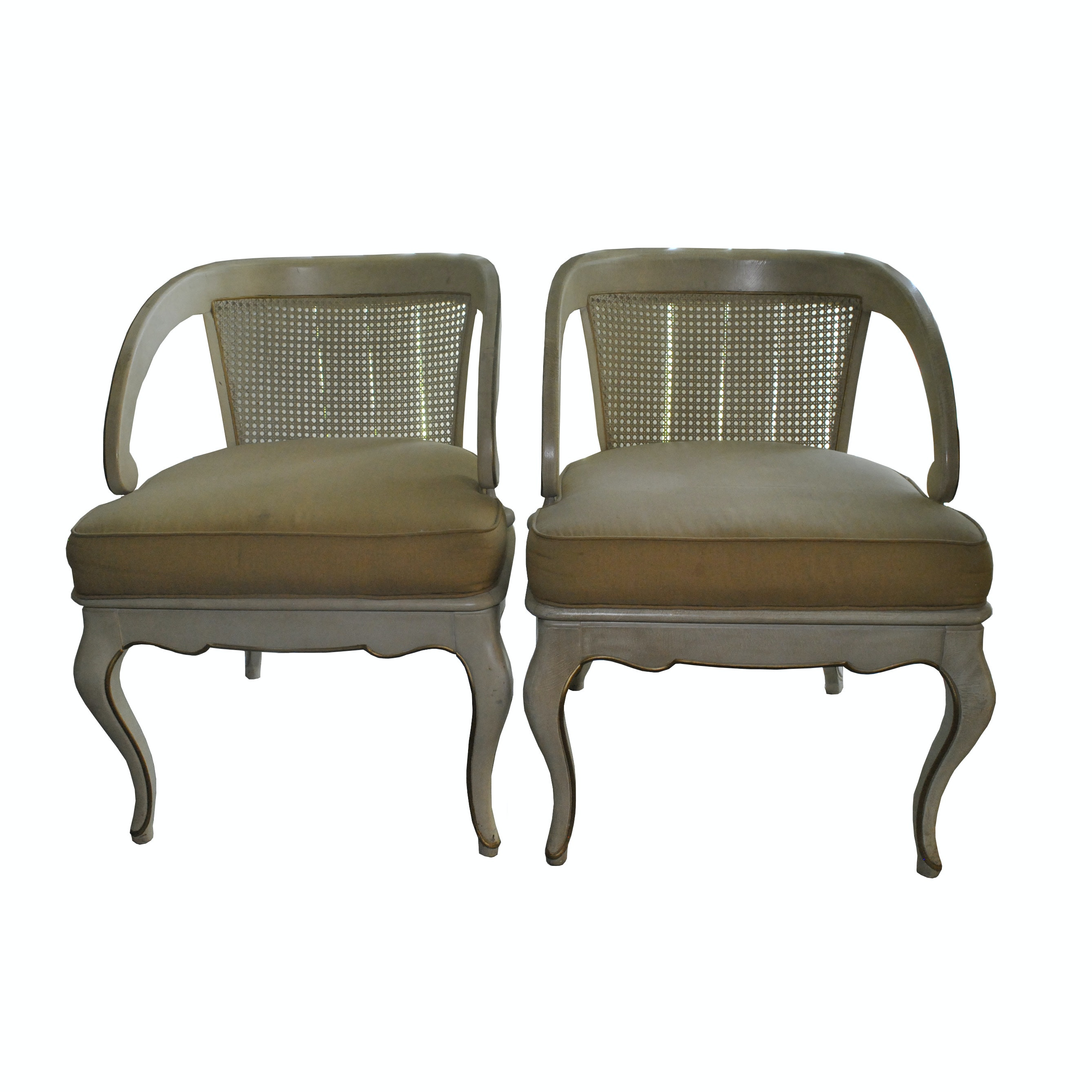 Cream And Gold Cane Back Louis XV Style Tub Chairs With Gold Seat Cushions