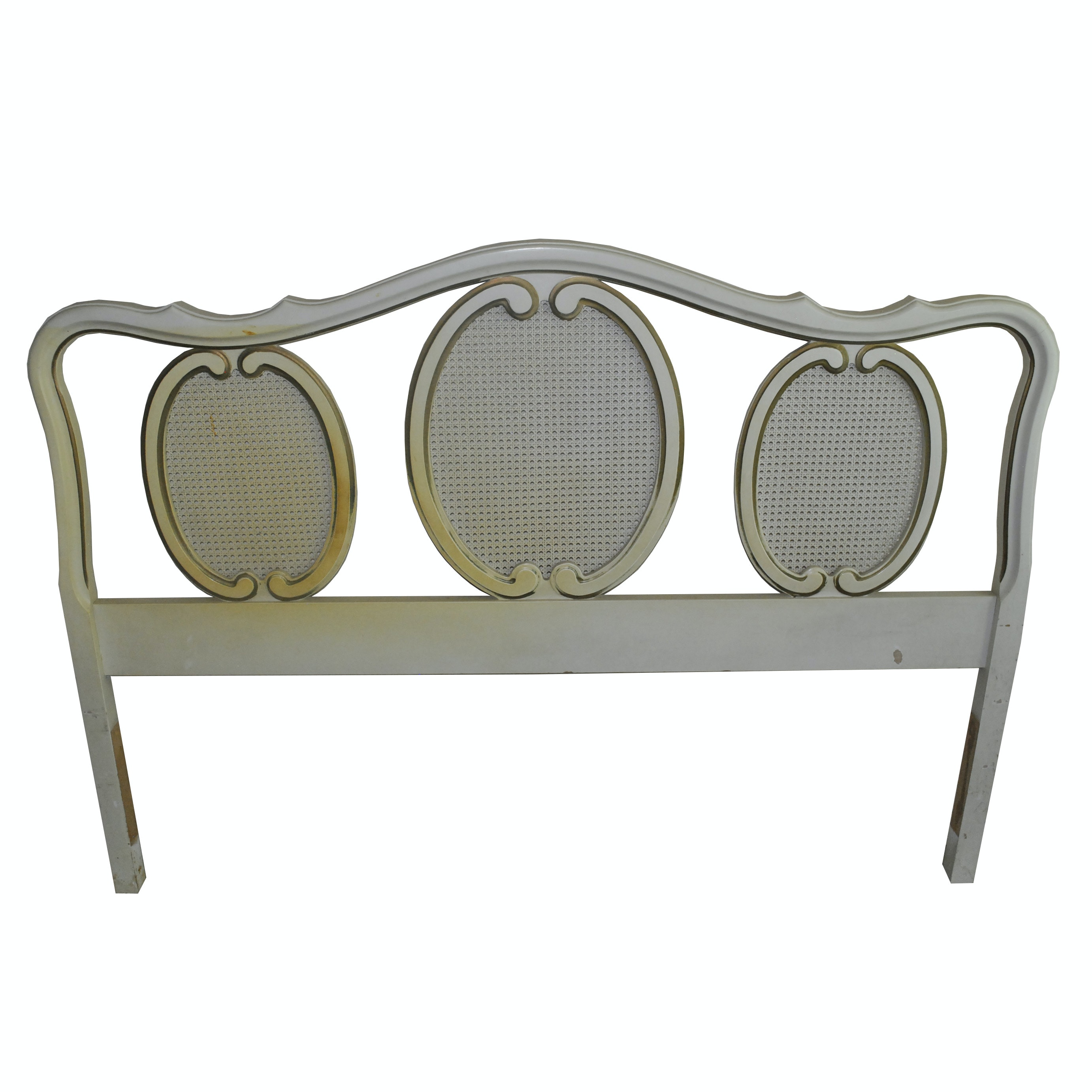 Cream and Gold Louis XV Style Full Size Headboard