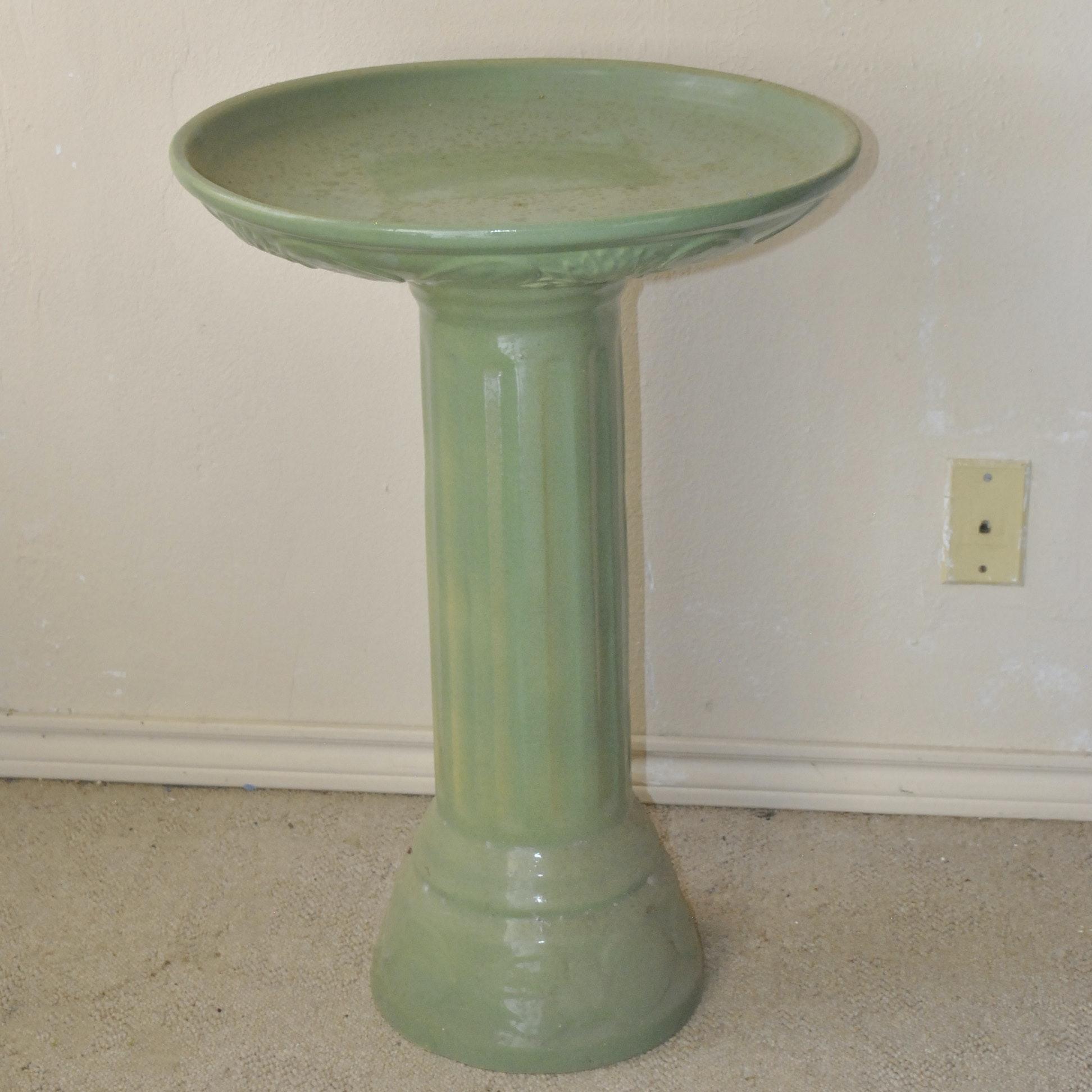 Glazed Green Ceramic Bird Bath