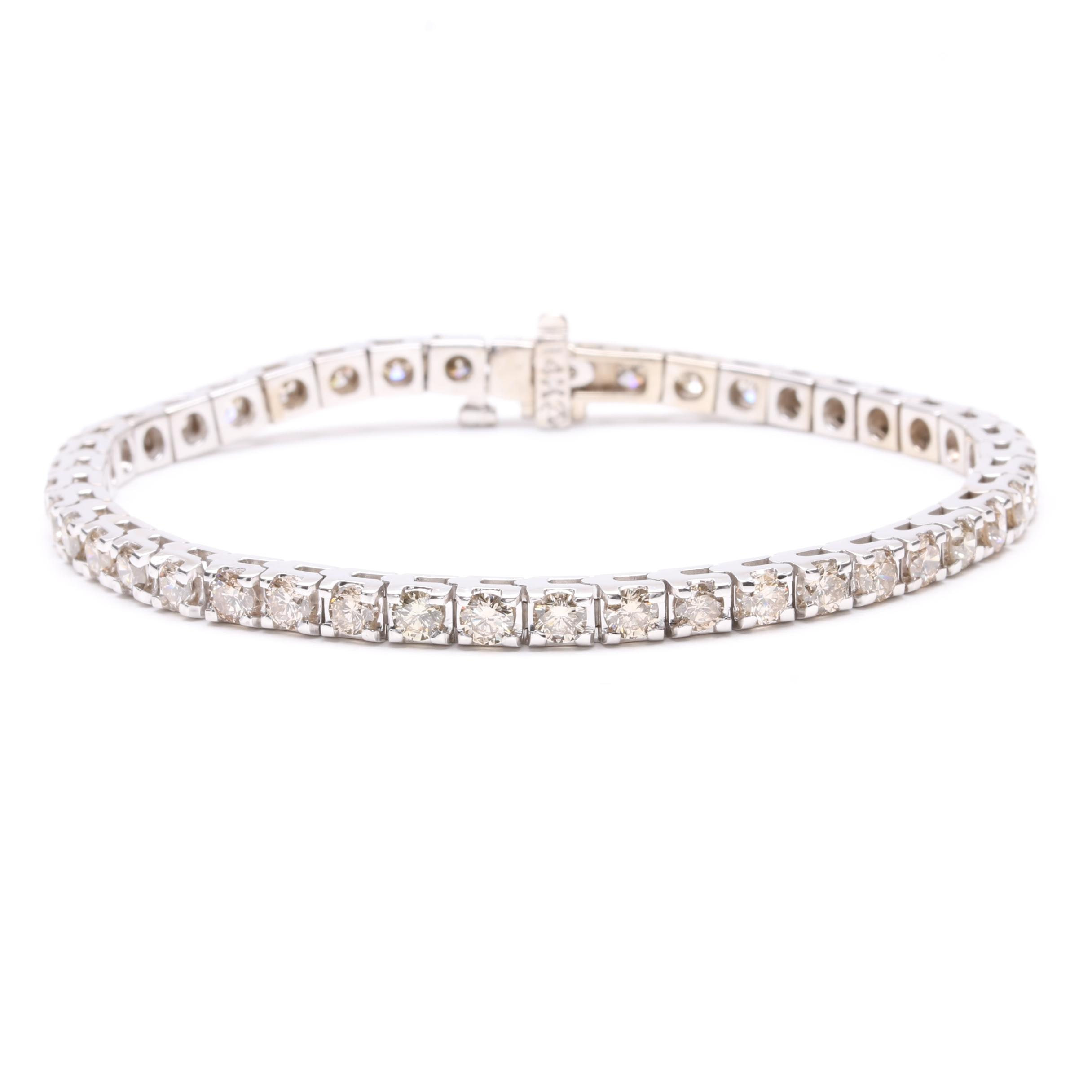 14K White Gold 5.00 CTW Diamond Tennis Bracelet