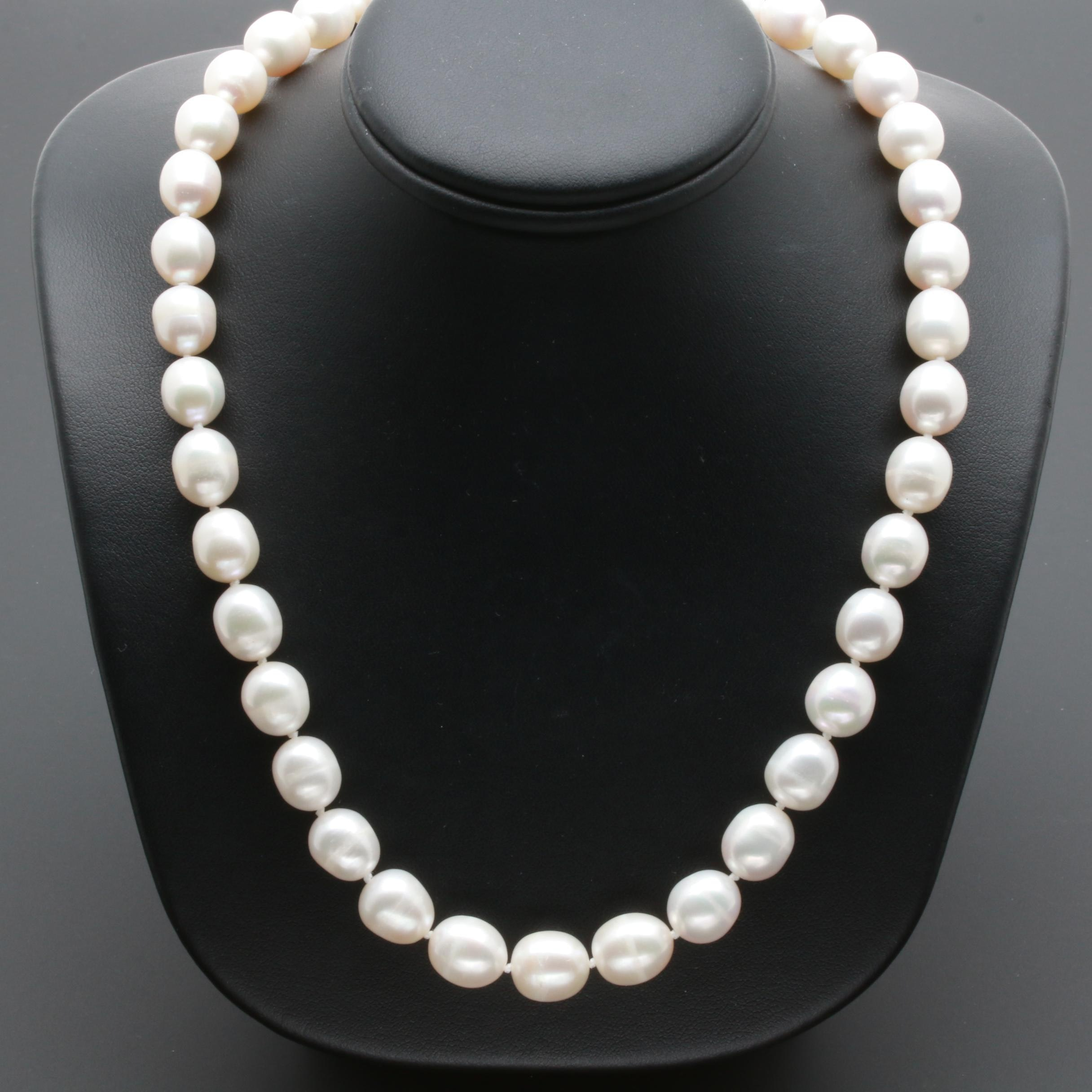 Sterling Silver Cultured Pearl Single Strand Necklace
