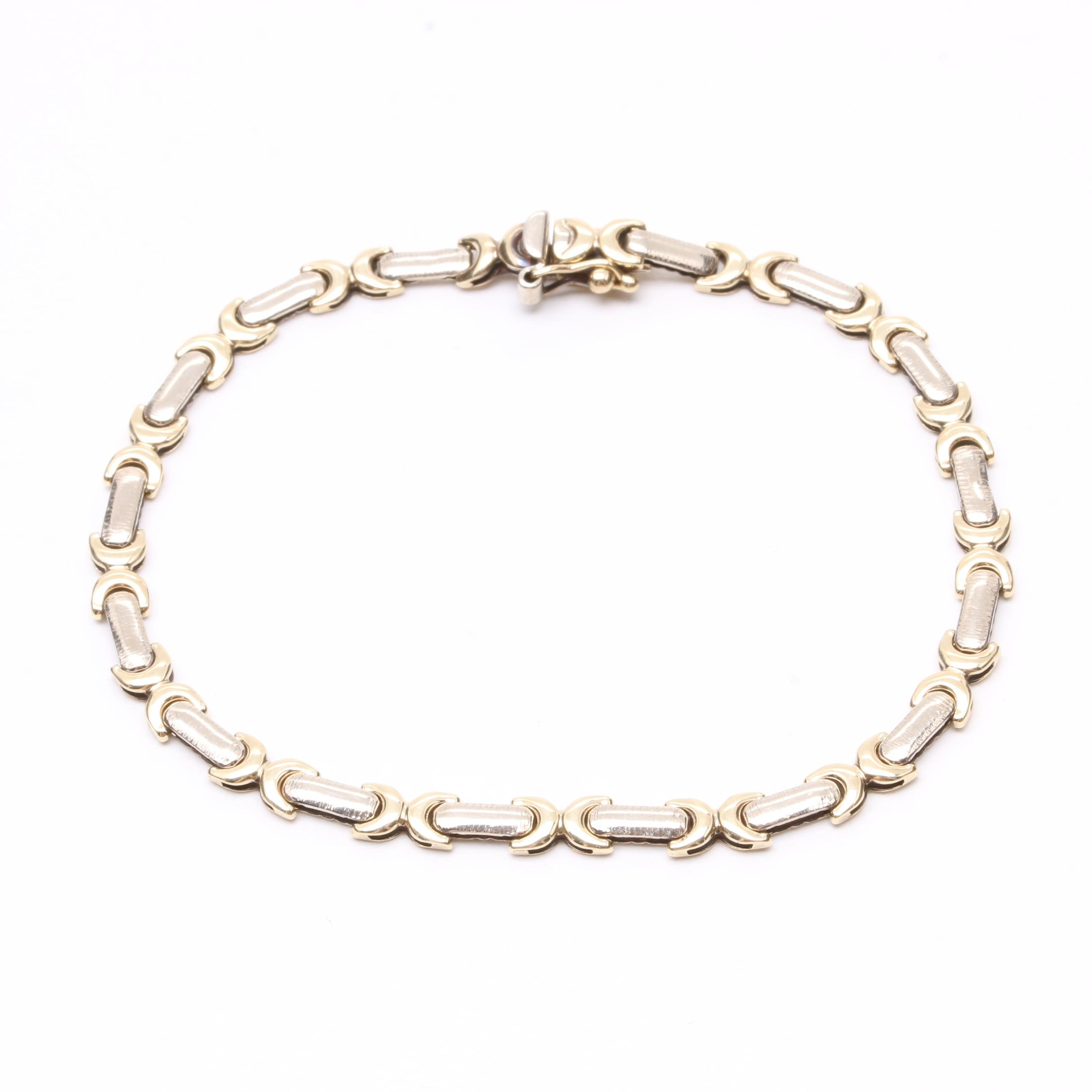 14K Yellow and White Gold Fancy Link Bracelet