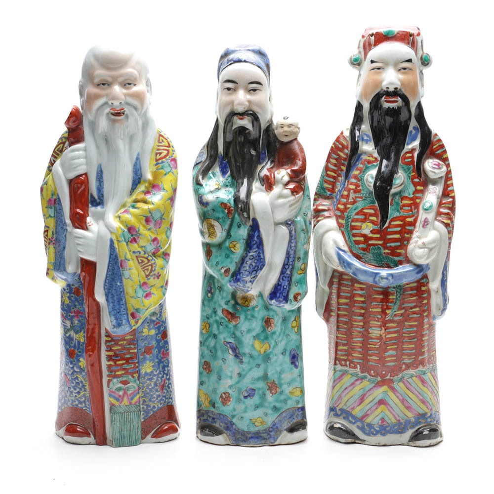 Chinese Sanxing Deities Statuettes
