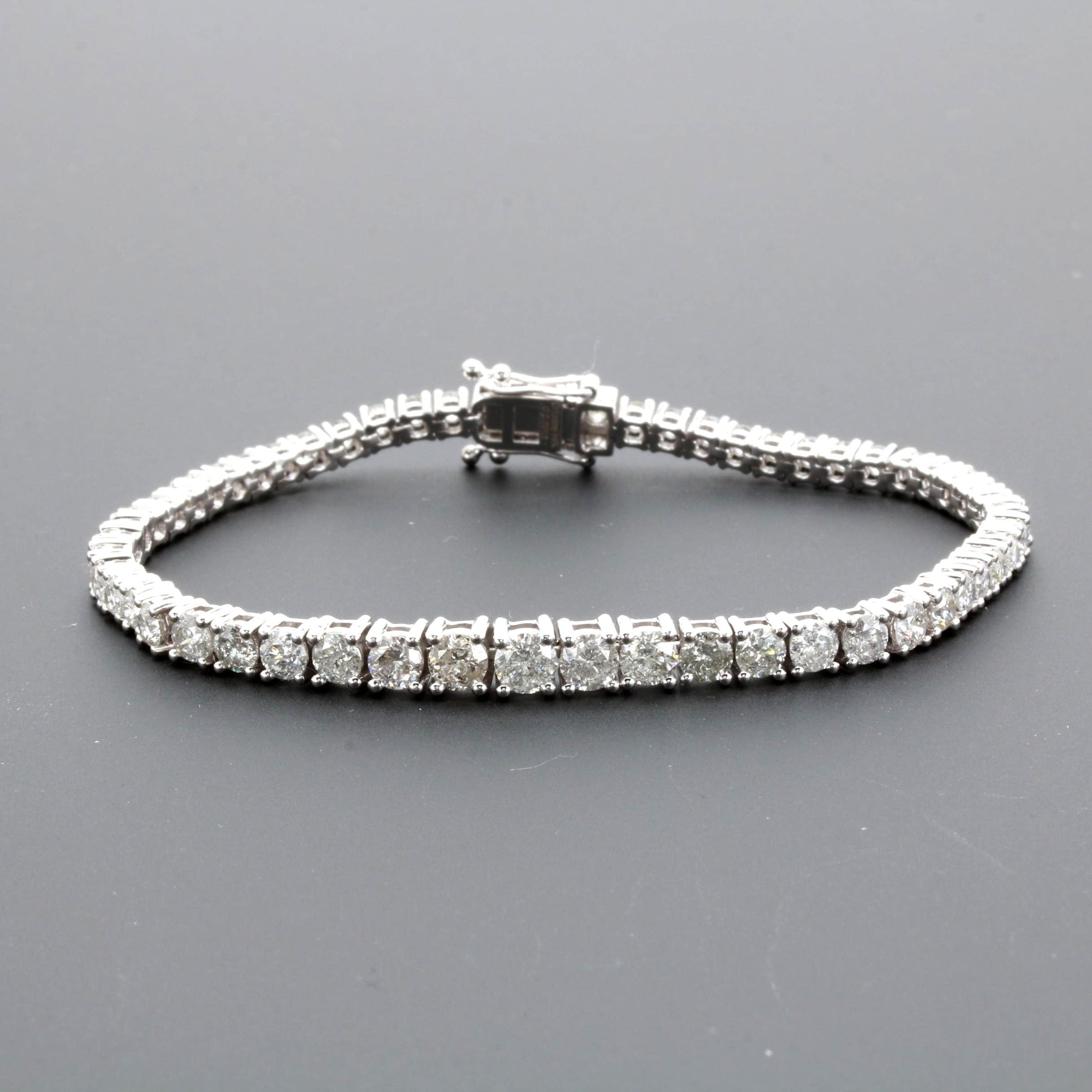 14K White Gold 7.59 CTW Diamond Graduating Tennis Bracelet