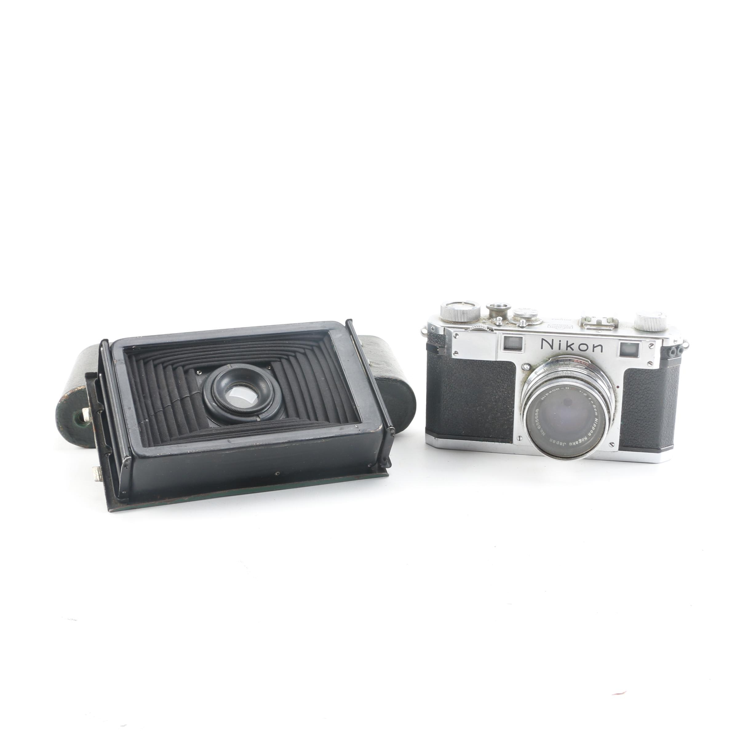 "Vintage Nikon and Kodak ""Rainbow Hawk-Eye"" Still Film Cameras"