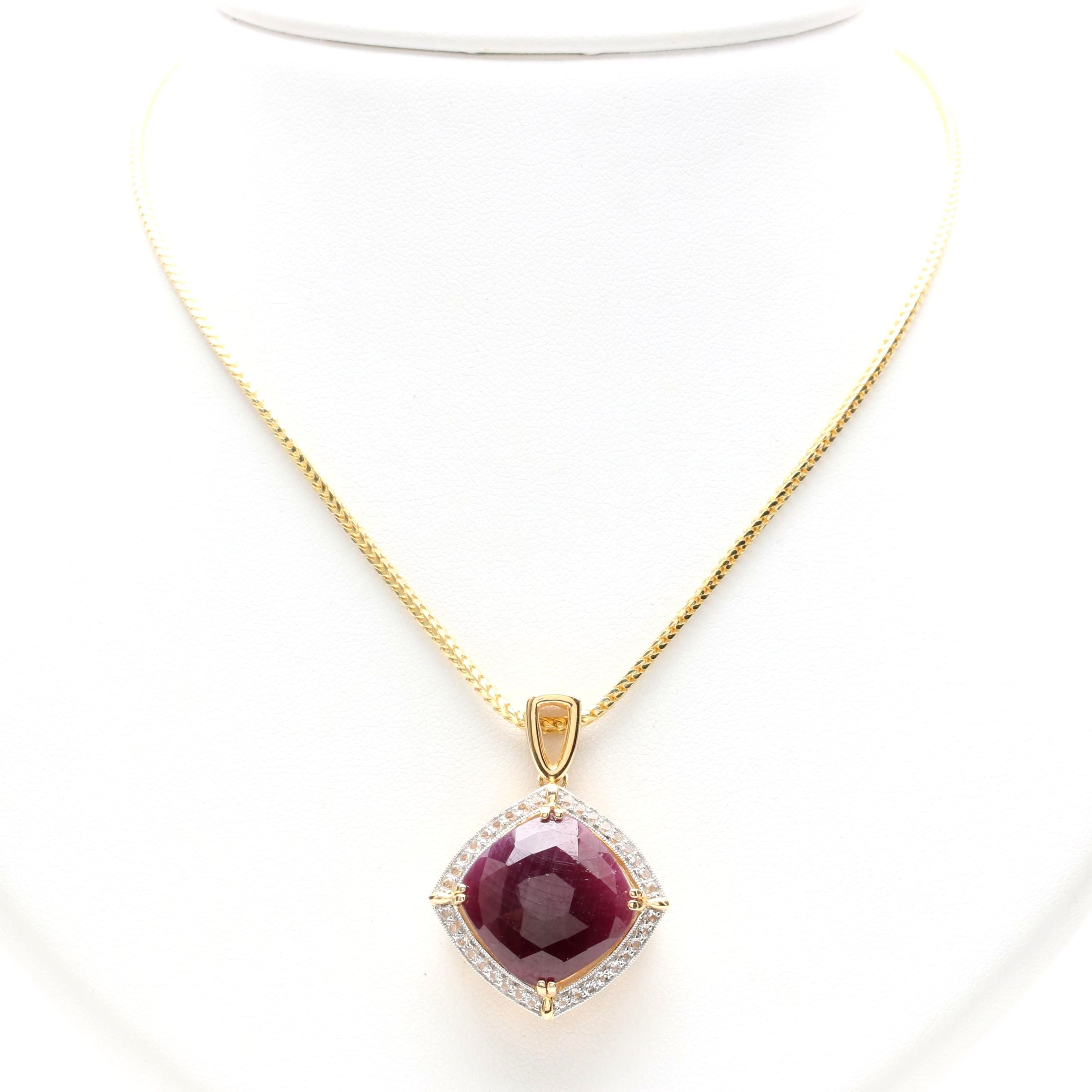 Gold Wash on Sterling Silver Ruby and White Topaz Pendant Necklace