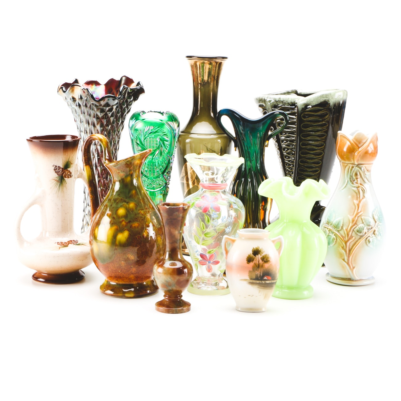 Assorted Vintage Art and Glass Pottery Vases