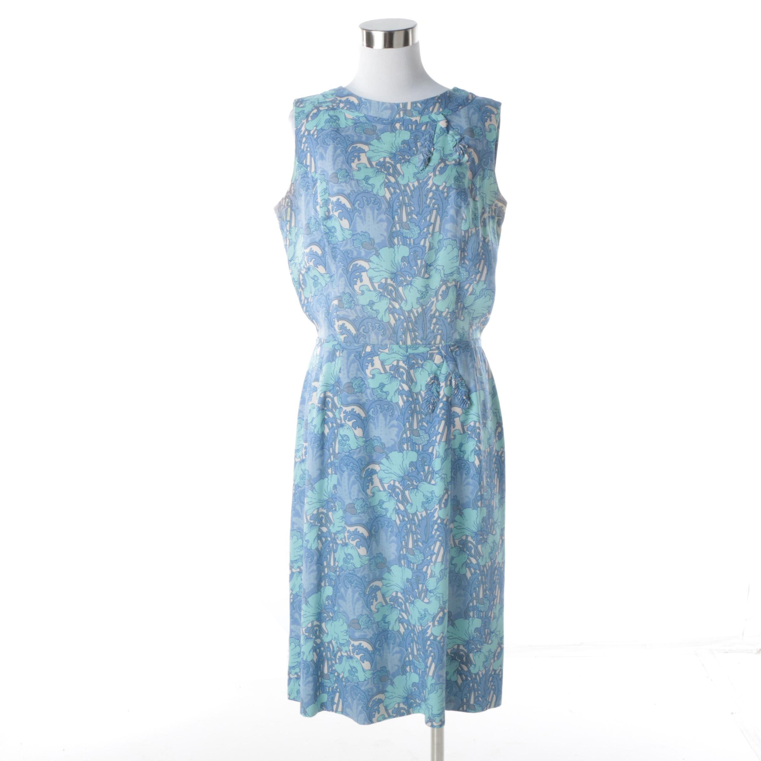 Circa 1960s Vintage Peck & Peck Botanical Print Sleeveless Dress