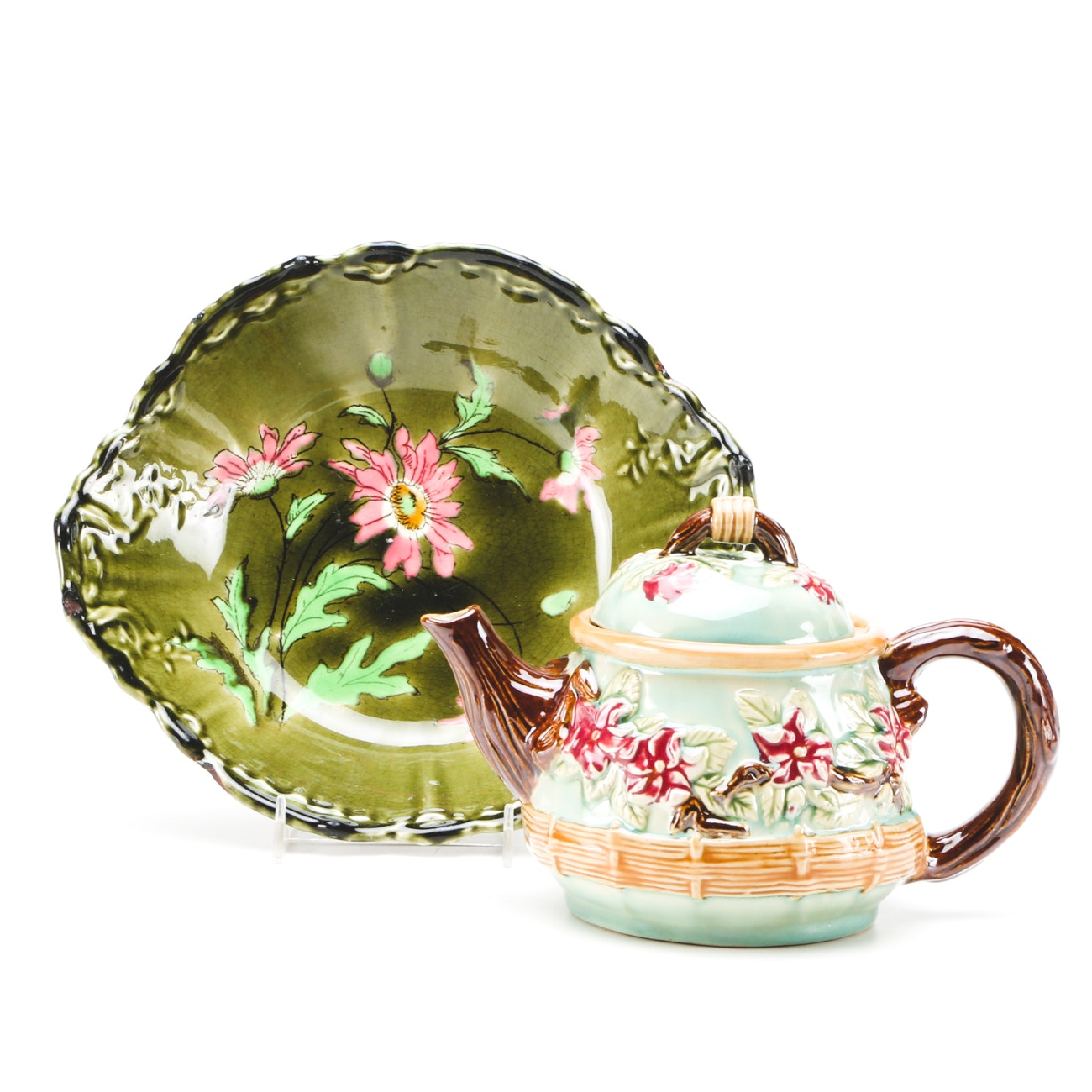Majolica Art Pottery Including Teapot and Bowl