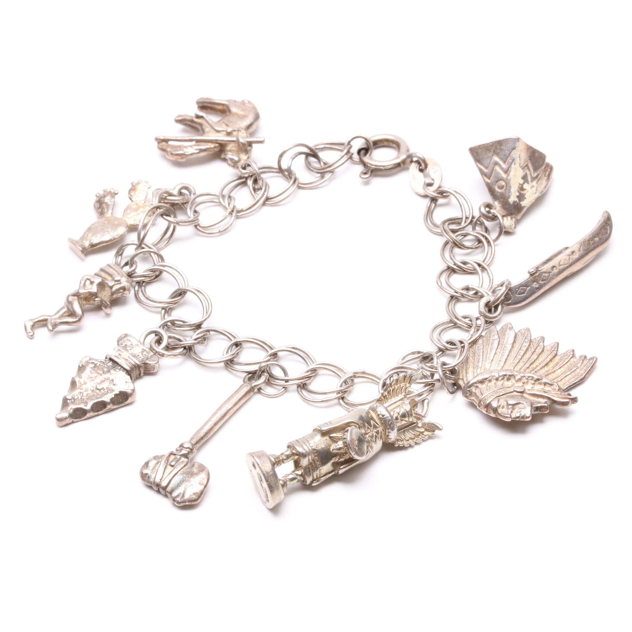 Sterling Silver Southwestern Themed Charm Bracelet