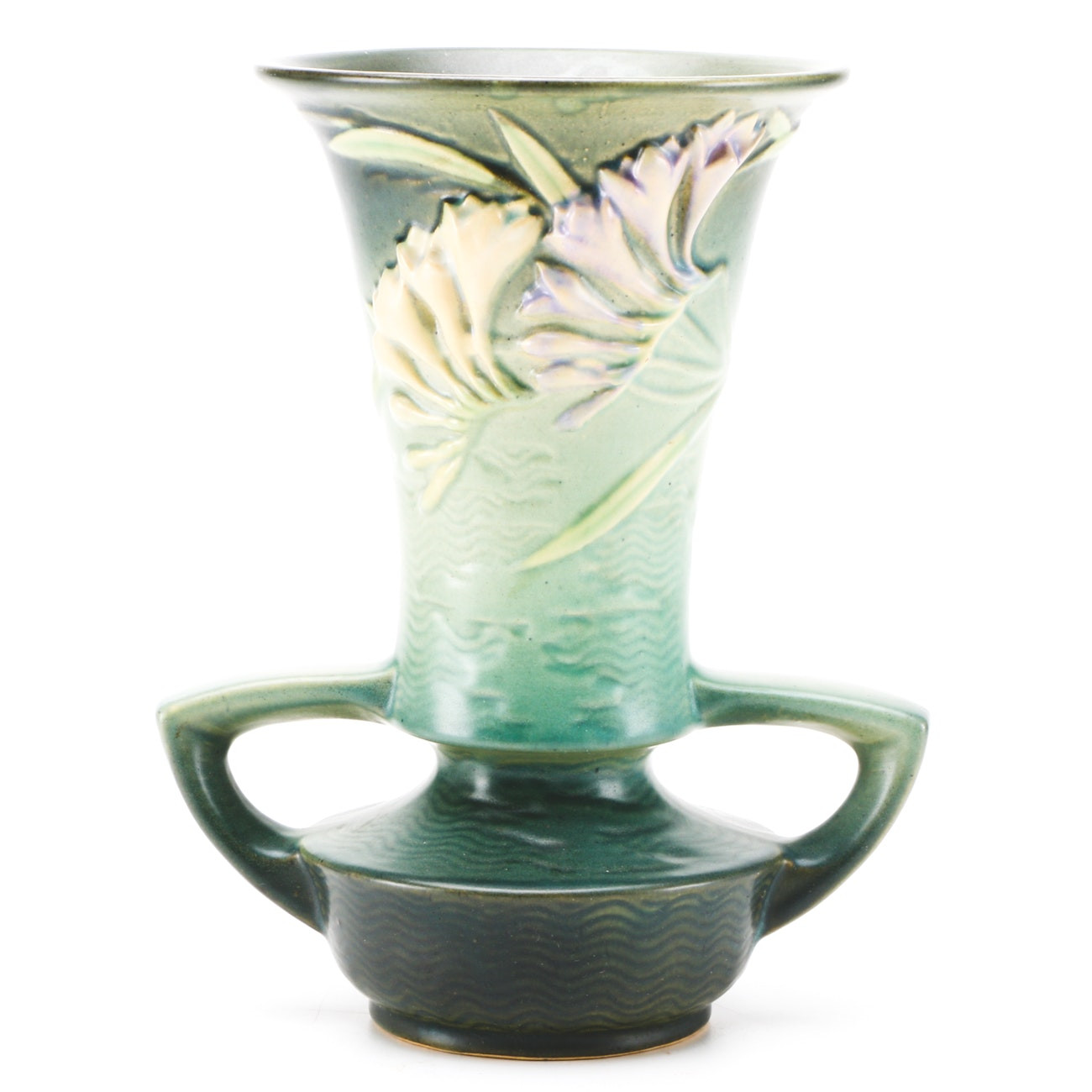 "1940s Roseville ""Freesia"" Two Handle Vase"