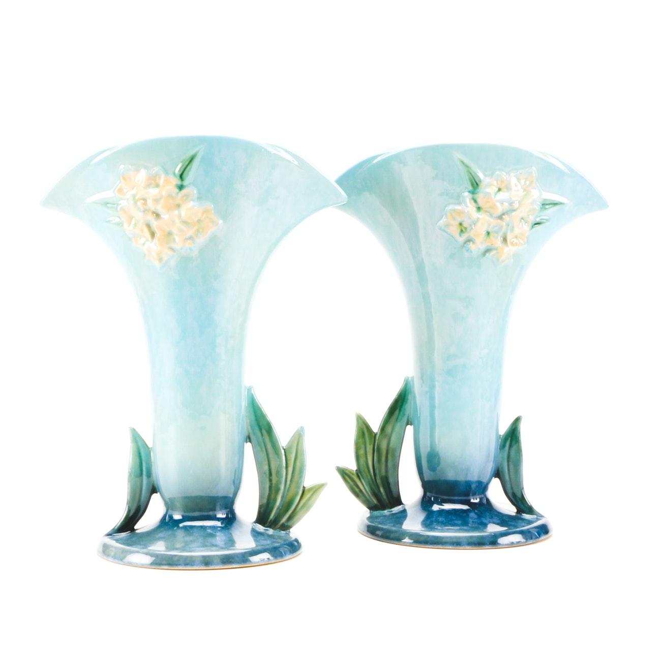 """Vintage Roseville Pottery """"Wincraft"""" Mantle Vases"""