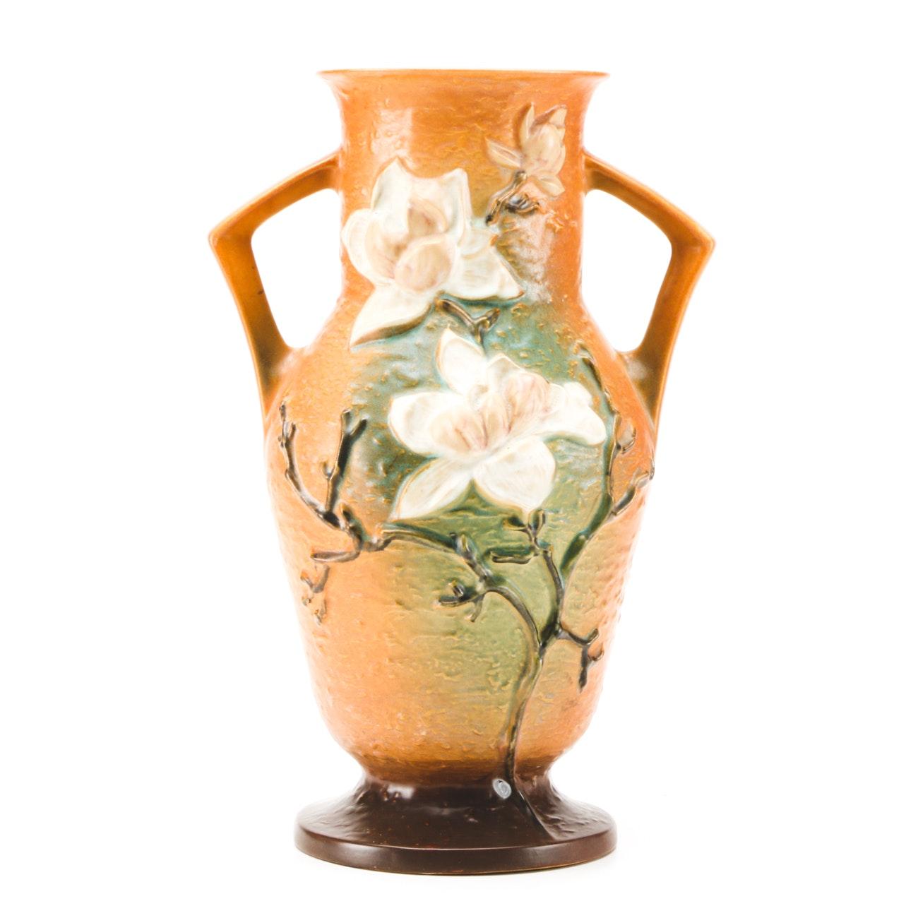 "1940s Roseville ""Magnolia"" Two Handled Vase"