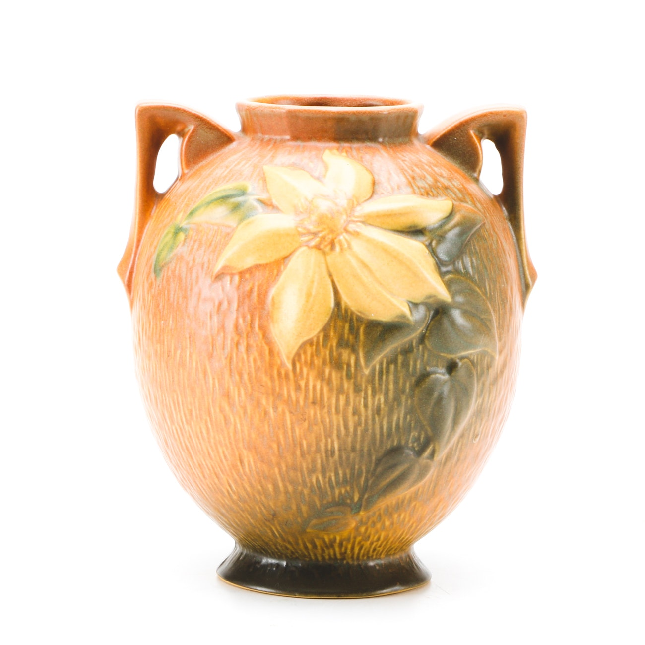 """1940s Roseville """"Clematis"""" Two Handled Vase"""