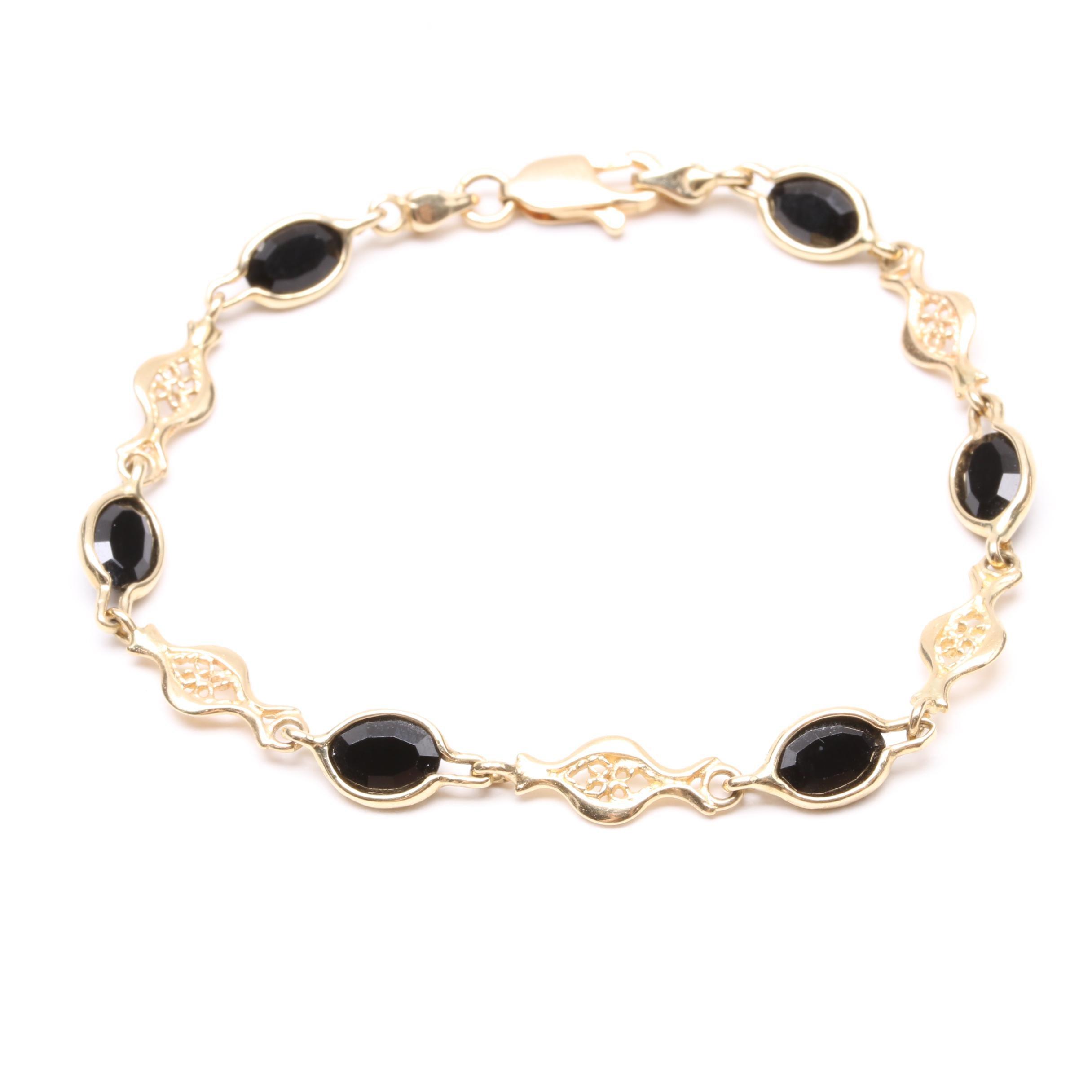 14K Yellow Gold Synthetic Black Spinel Bracelet