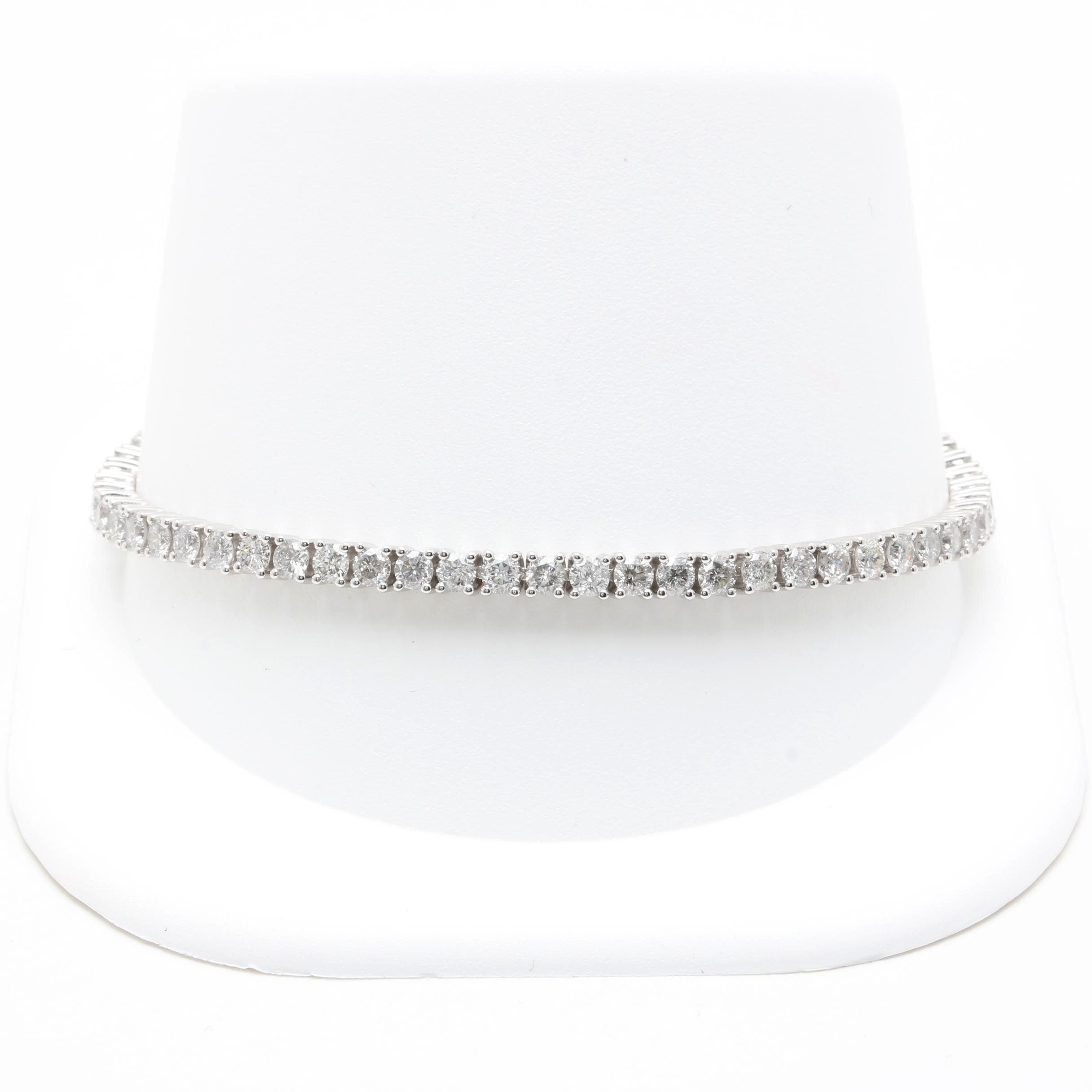 14K White Gold 4.96 CTW Diamond Tennis Bracelet