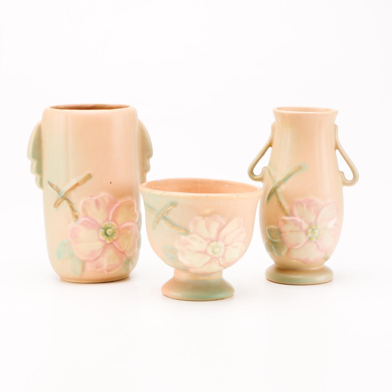 "Assorted 1940s-1950s Weller ""Wild Rose"" Art Pottery"
