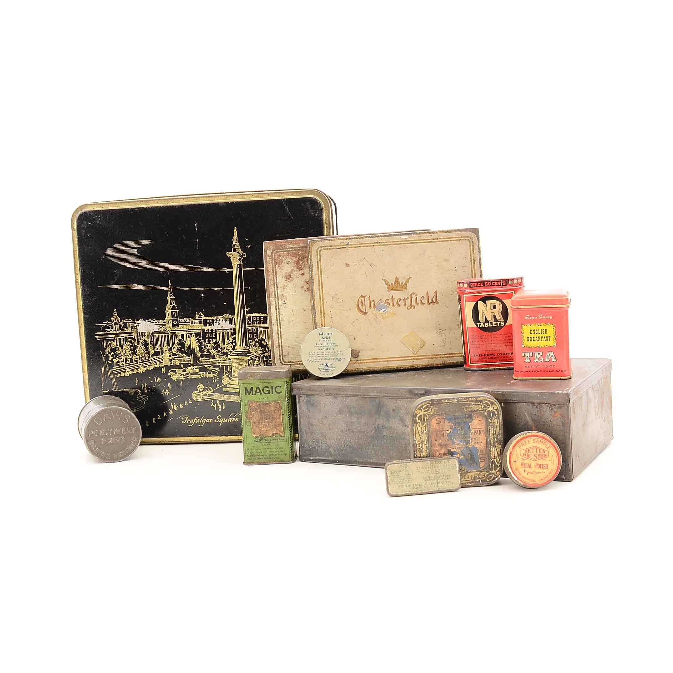 Collection of Twelve Vintage Advertising Tins