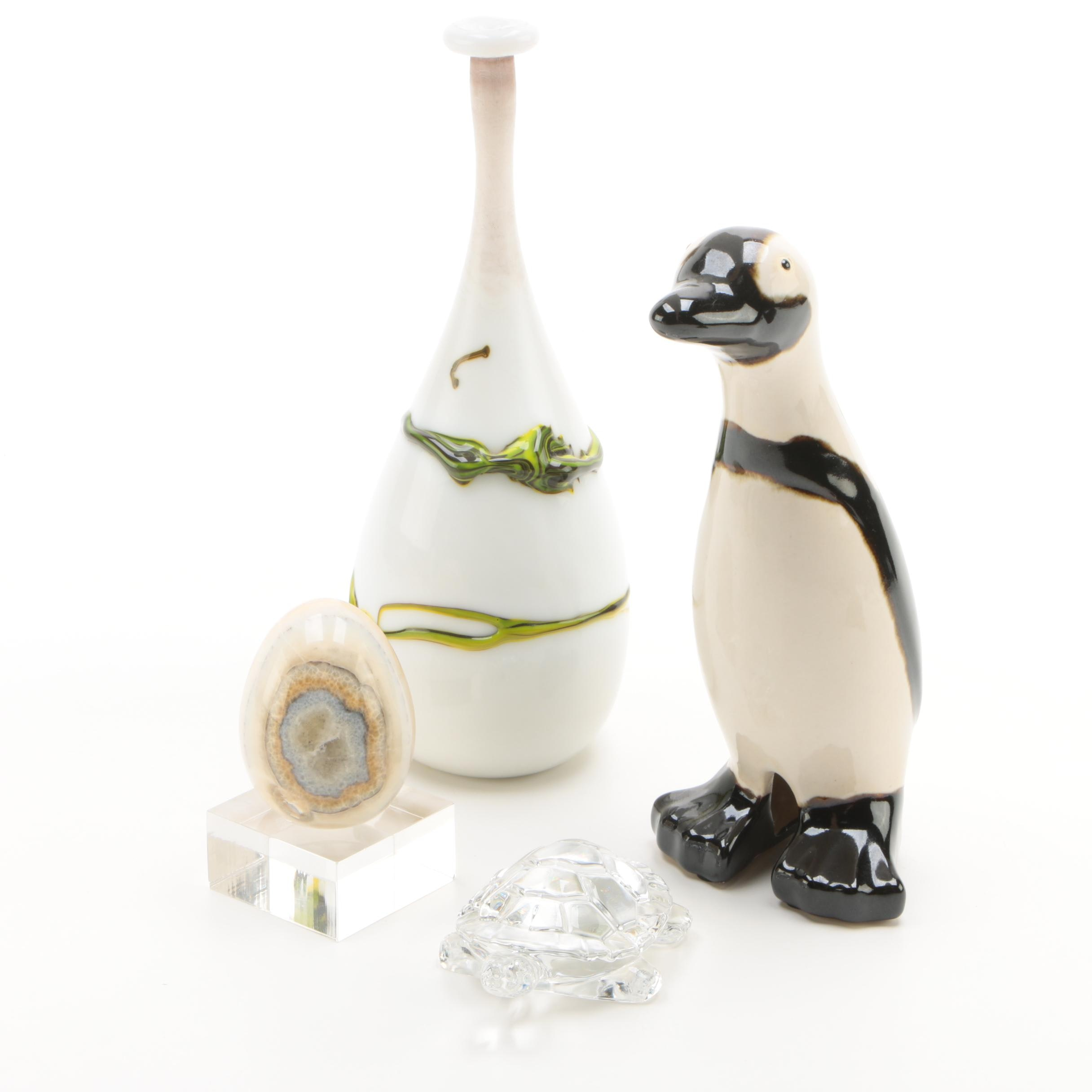 Glass Vase, Ceramic Penguin, Crystal Turtle and Banded Calcite Egg with Stand