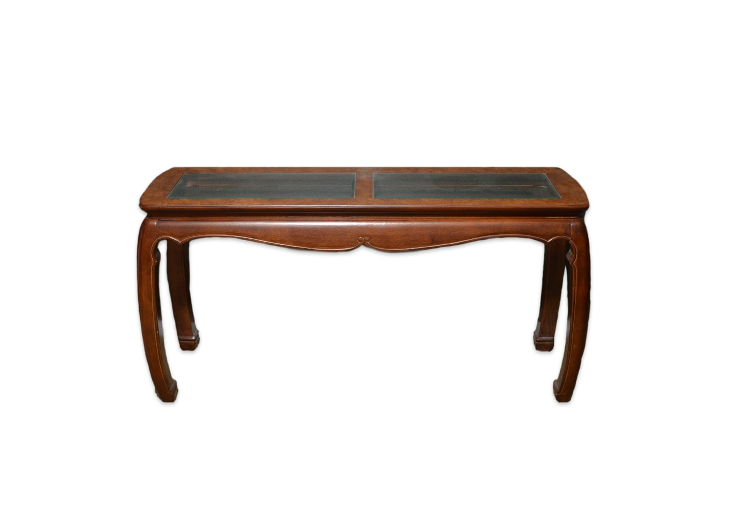 Chinese Inspired Glass Top Mixed Wood Console Table