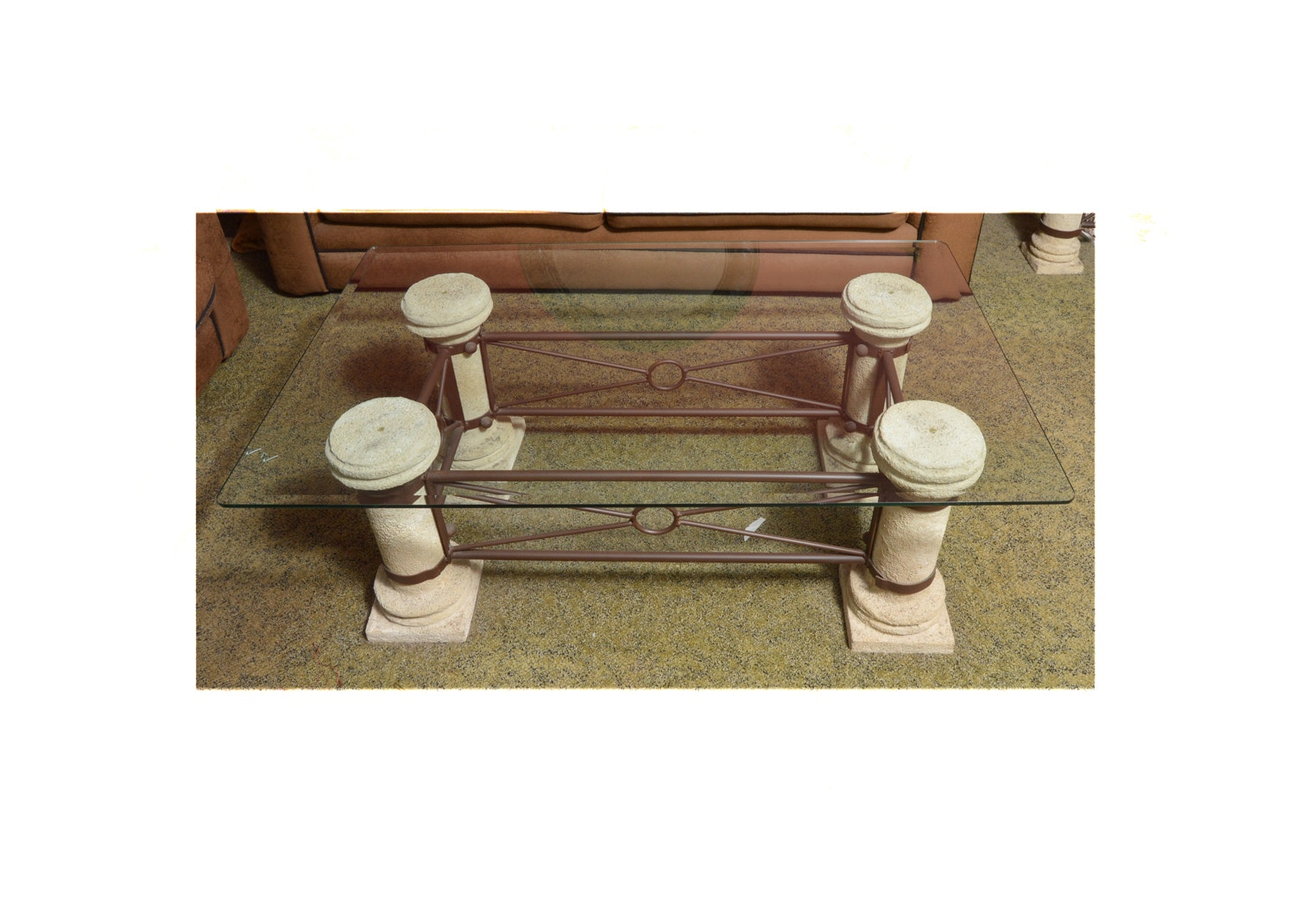 Neoclassical Inspired Glass Top Coffee Table