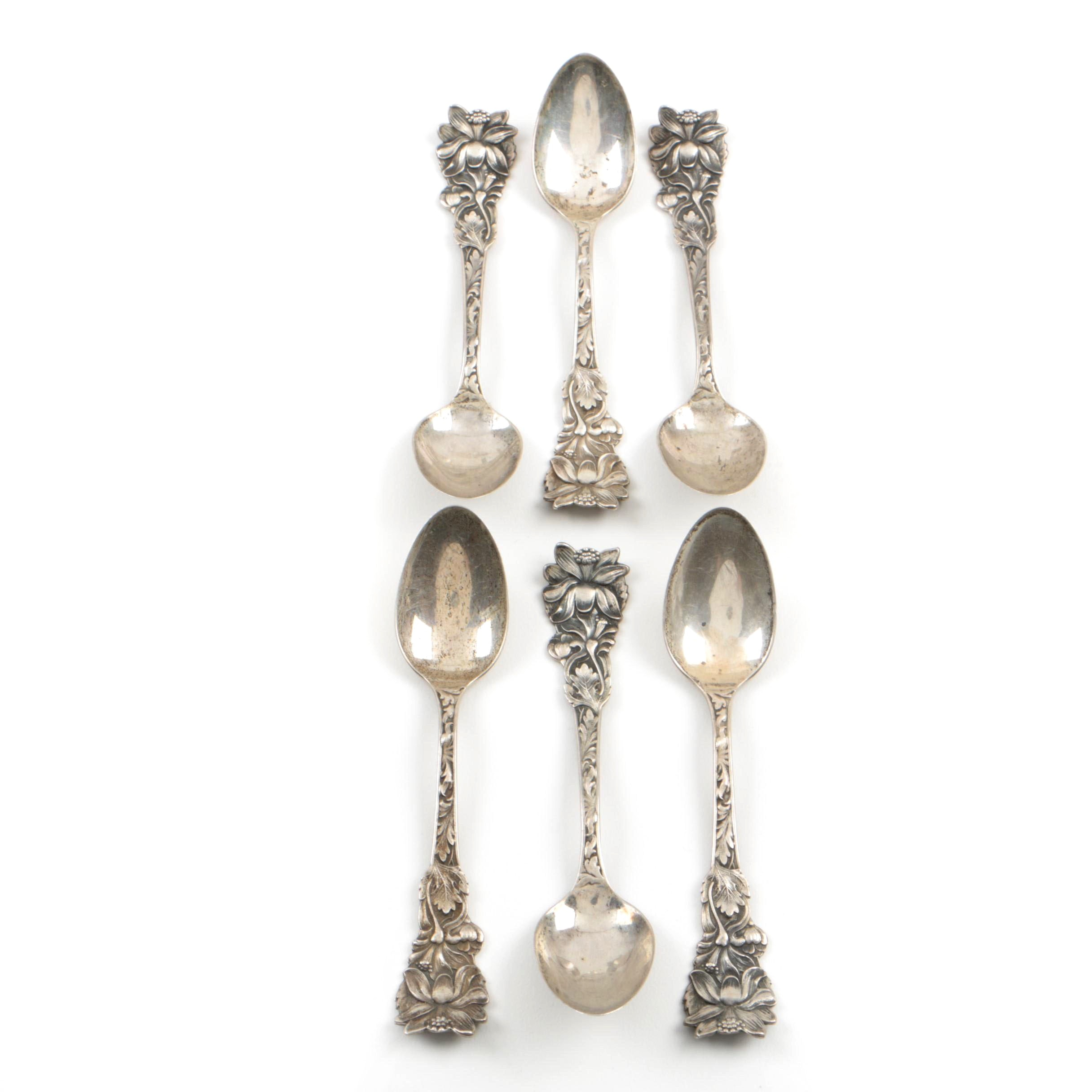 Six Antique Sterling Silver Demitasse Spoons by Saart Brothers