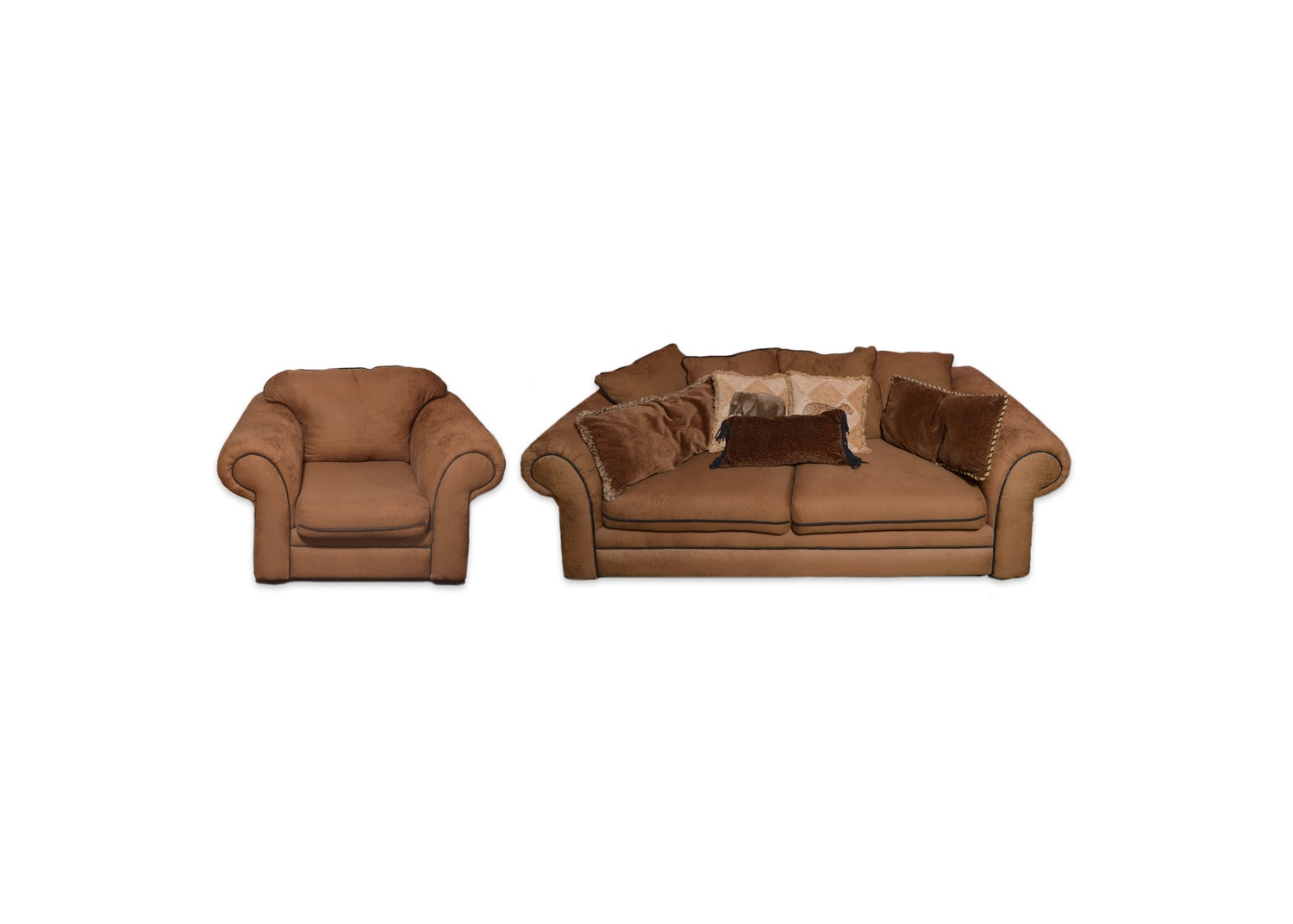 Brown Upholstered Sofa and Armchair