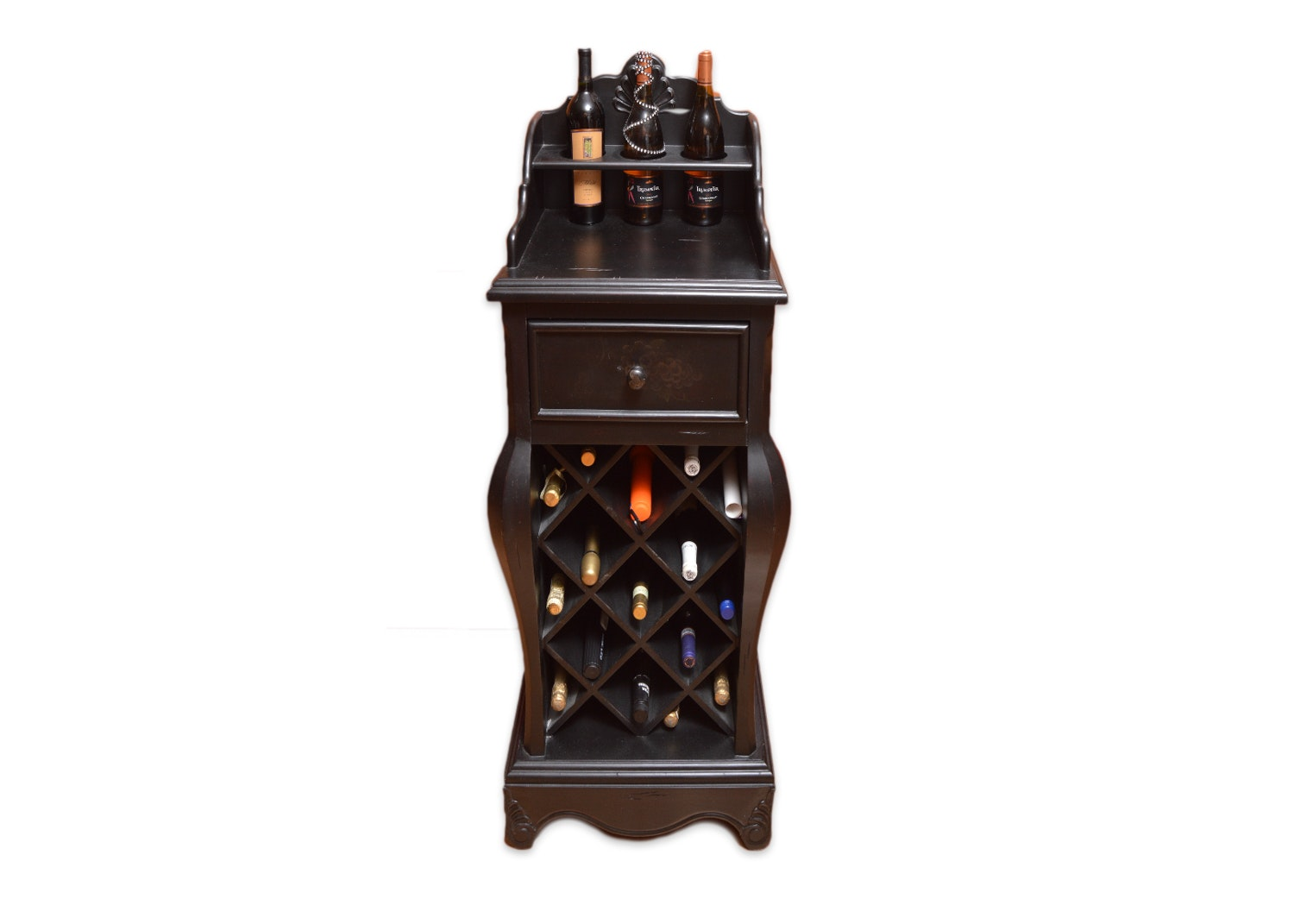 Black Finish Wine Cabinet with Table Top and Drawer