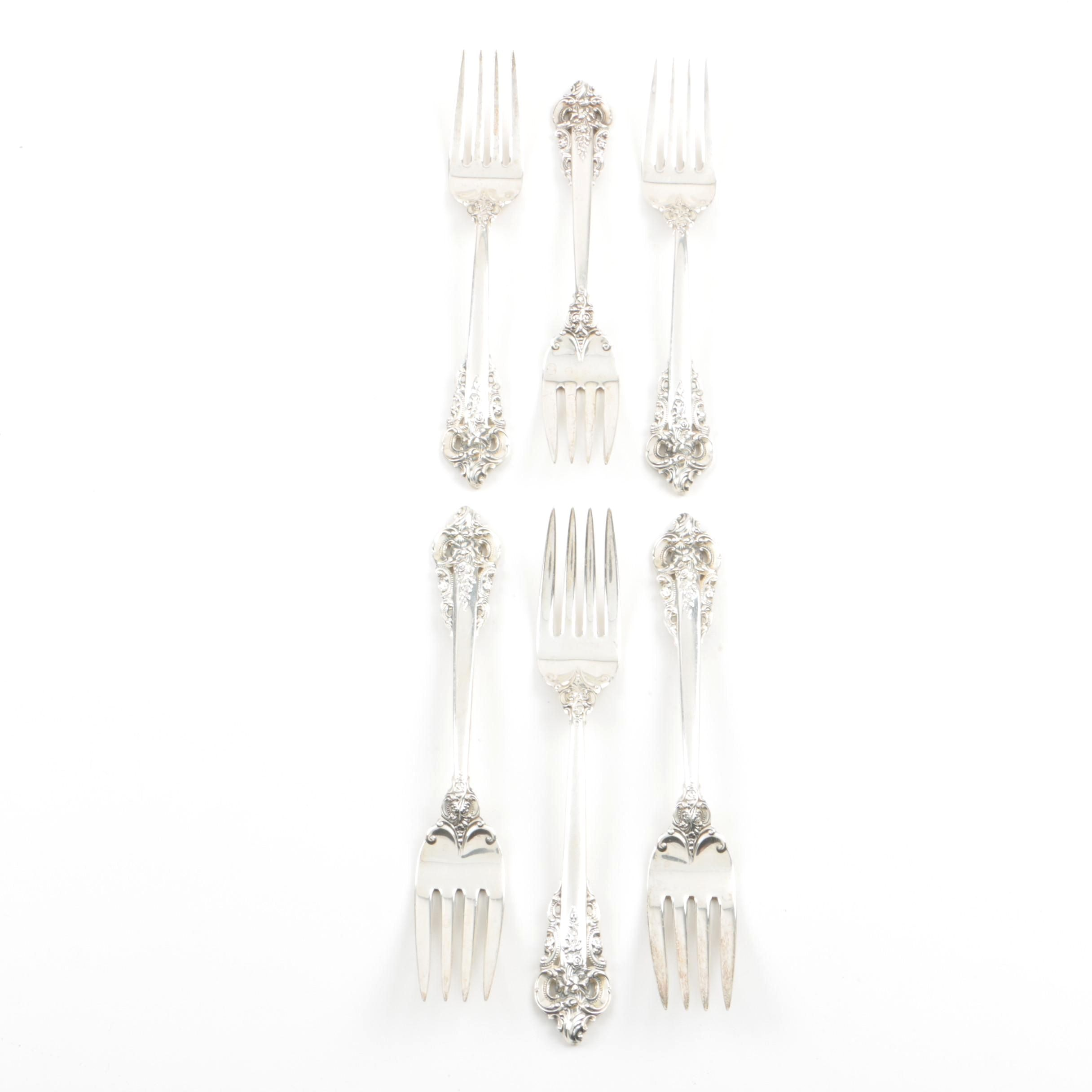 "Set of Six Wallace ""Grande Baroque"" Sterling Silver Salad Forks"