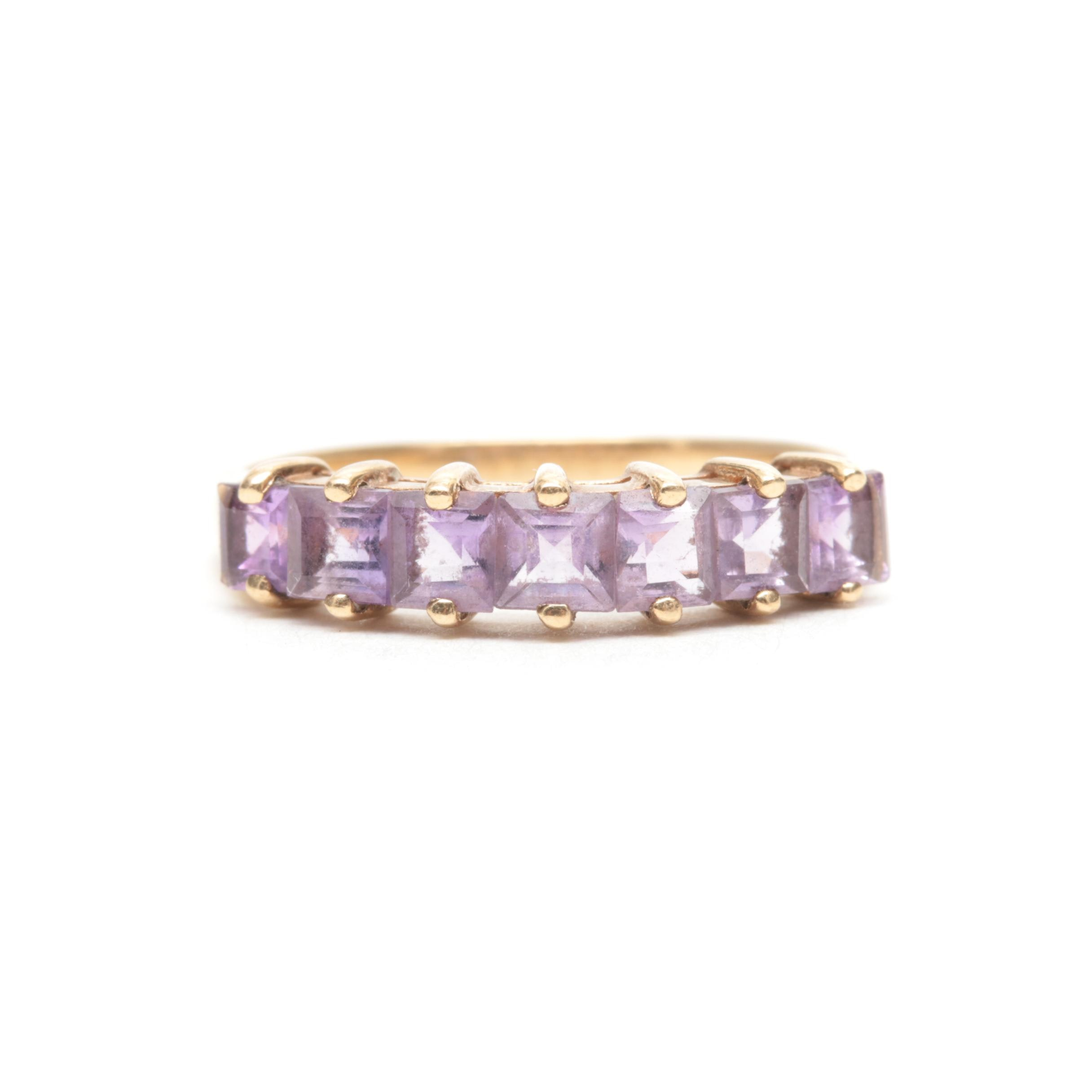 10K Yellow Gold Amethyst Band