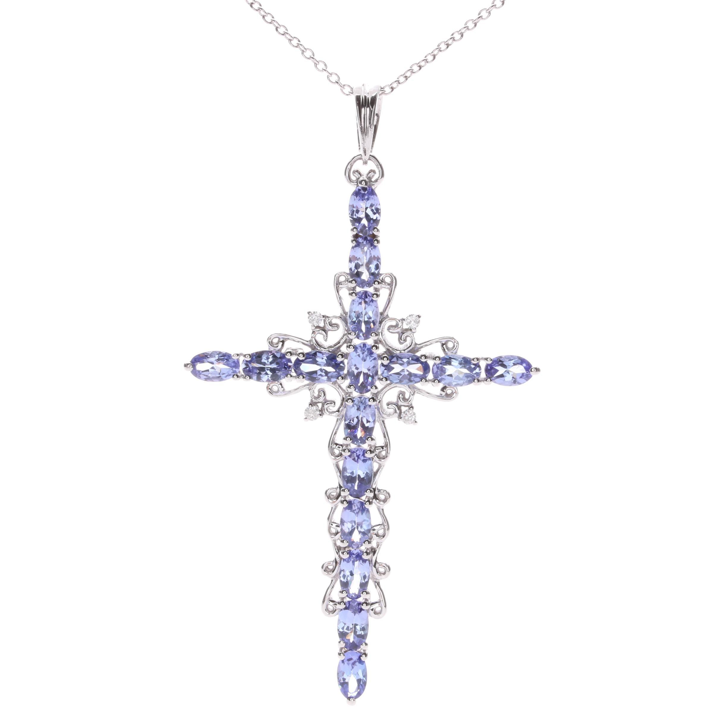 Sterling Silver Tanzanite Cross Necklace