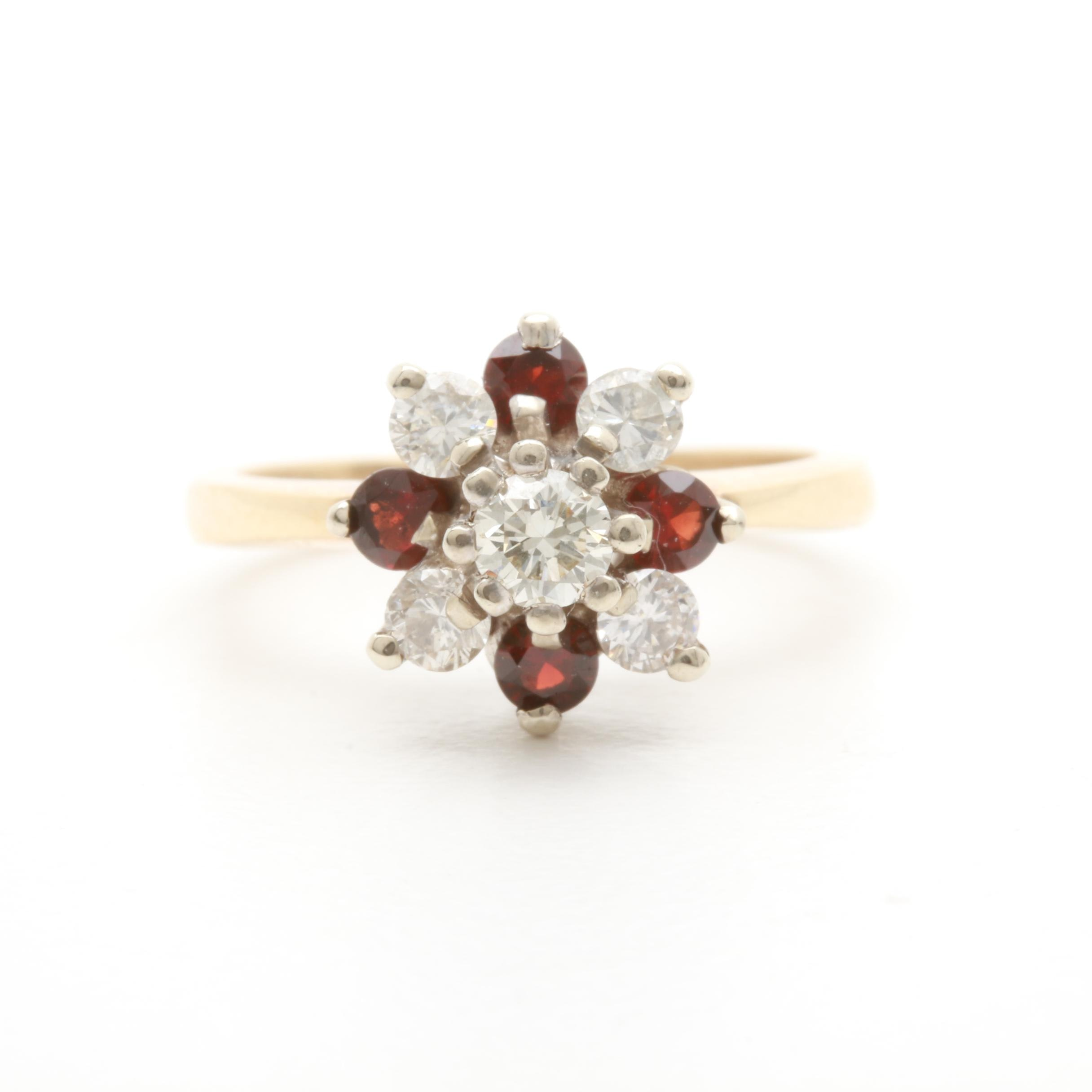 14K Yellow Gold Diamond and Garnet Ring with White Gold Accent