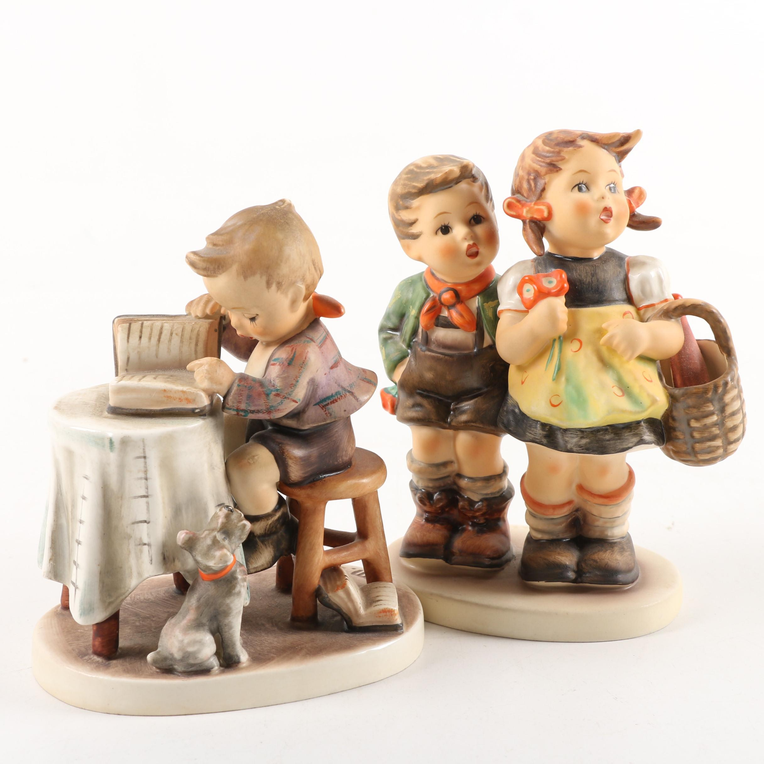 """Vintage Goebel Hummel Porcelain Figurines including """"Little Bookkeeper"""""""